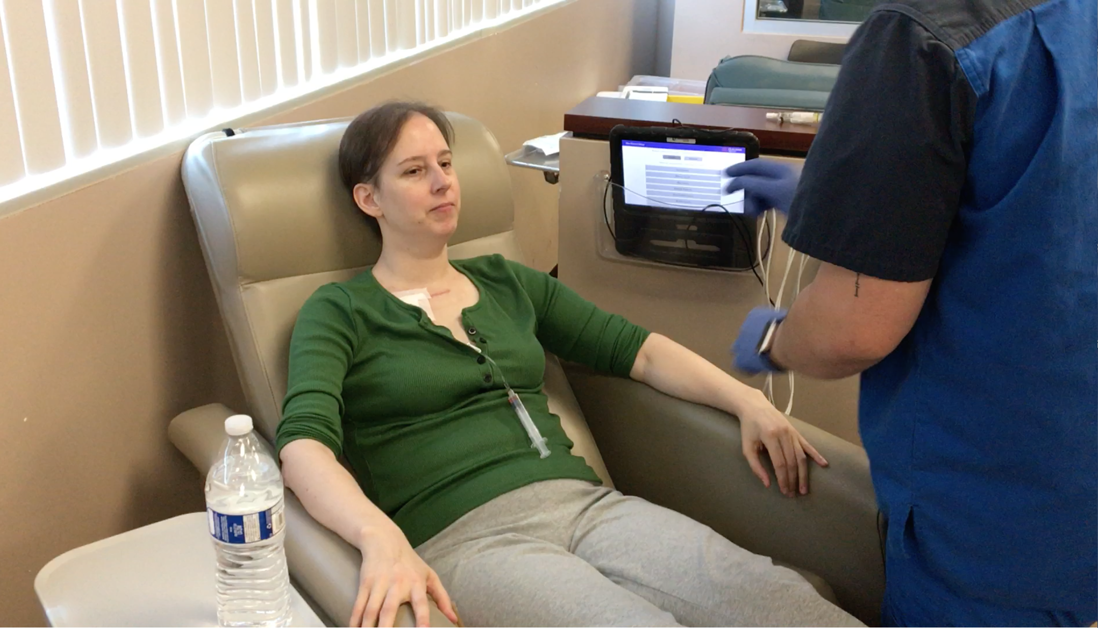 Laura Packard receives chemotherapy treatment in August 2017. (Courtesy of Laura Packard)