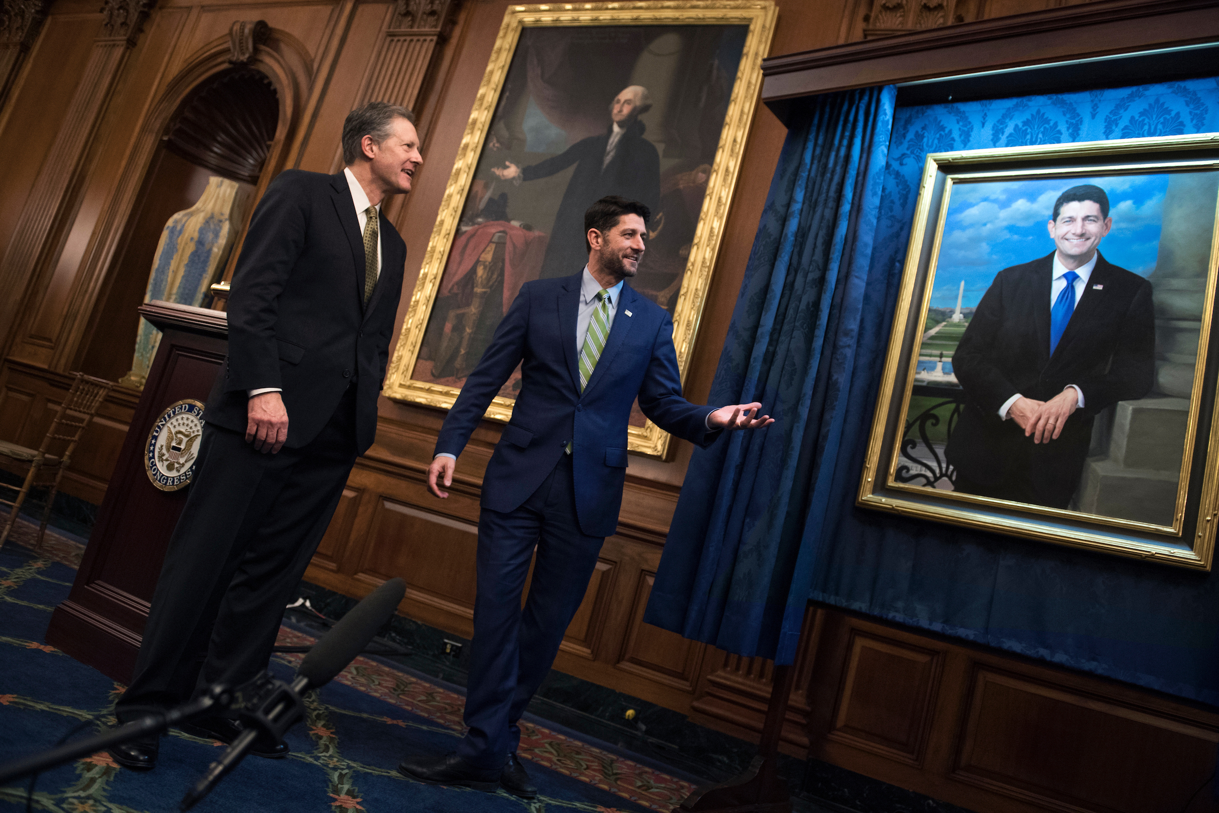 UNITED STATES - NOVEMBER 29: Speaker Paul Ryan, R-Wis., along with his brother, Stan, attends the unveiling of his House Budget Committee chairman portrait in the Capitol on November 29, 2018. The portrait was painted by Minnesota artist Leslie Bowman. (Photo By Tom Williams/CQ Roll Call)