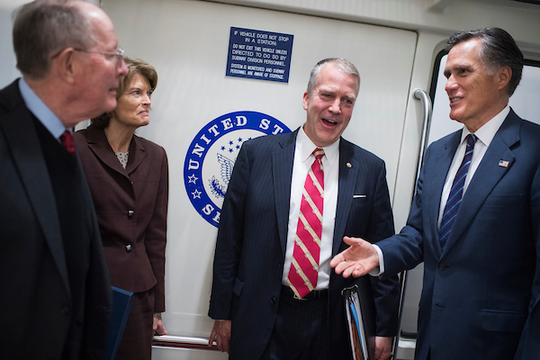 From left, Sens. Lamar Alexander, R-Tenn., Lisa Murkowski, R-Alaska, Dan Sullivan, R-Alaska, and Sen.-elect Mitt Romney,R-Utah, are seen in the Senate subway in the Capitol on November 15, 2018. (Photo By Tom Williams/CQ Roll Call)