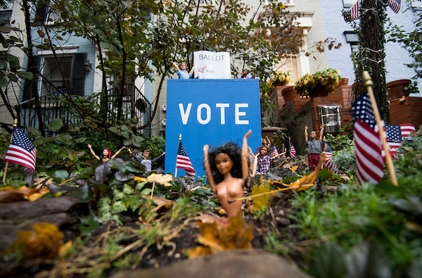 "UNITED STATES - NOVEMBER 5: The election is the theme today at the ""Barbie Pond on Avenue Q,"" a collection of Barbie dolls posed around their own exclusive pond outside a house in Washington, DC, on Monday, Nov. 5, 2018. The Logan Circle neighborhood attraction features Barbie dolls set up to depict scenes of holidays, seasons, and big events. (Photo By Bill Clark/CQ Roll Call)"