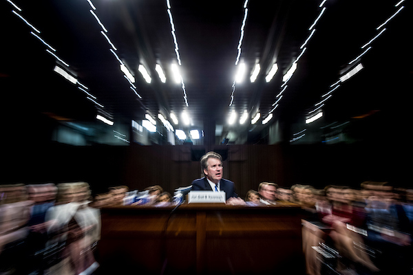 UNITED STATES - SEPT 6: Brett Kavanaugh, nominee to be Associate Justice of the Supreme Court testifies before members of the Senate Judiciary Committee Thursday Sept. 6, 2018. (Photo By Sarah Silbiger/CQ Roll Call)