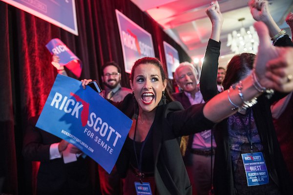 UNITED STATES - NOVEMBER 6: Irene Parave cheers during an election night party for Florida Gov. Rick Scott (R), in Naples, Fla., before Scott declared victory in Florida Senate race with Sen. Bill Nelson, D-Fla., on November 6, 2018. (Photo By Tom Williams/CQ Roll Call)
