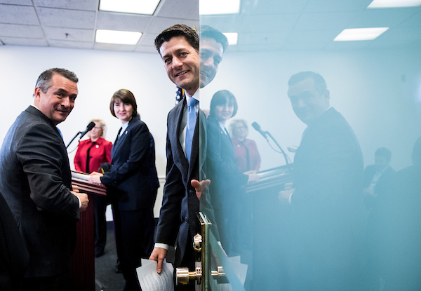 UNITED STATES - MARCH 20: Speaker of the House Paul Ryan, R-Wisc., closes the door as he prepares to hold a press conference following the House Republican Conference meeting in the Capitol on Tuesday, March 20, 2018. Also pictured, from left, are Rep. Don Bacon, R-Neb., Rep. Liz Cheney, R-Wyo., and Republican Conference Chair Cathy McMorris Rodgers, R-Wash. (Photo By Bill Clark/CQ Roll Call)