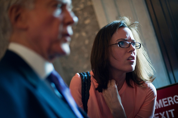 Antonia Ferrier, seen in 2012 with Sen. Orrin G. Hatch, her former boss on the Finance Committee. (Tom Williams/CQ Roll Call)