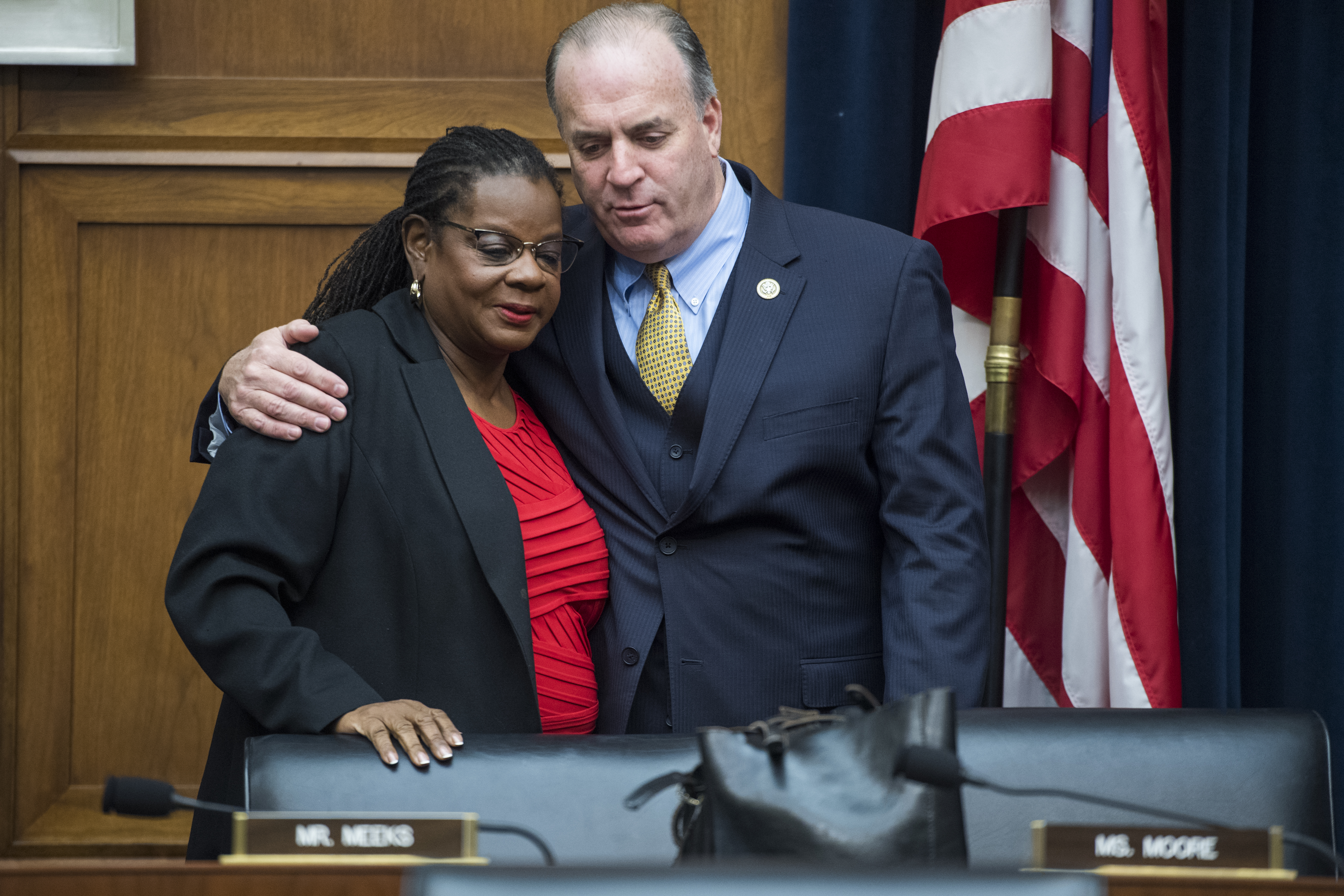"UNITED STATES - DECEMBER 12: Rep. Dan Kildee, D-Mich., and ranking member Rep. Gwen Moore, D-Wis., attend a House Financial Services Subcommittee on Monetary Policy and Trade hearing titled ""Evaluating the Effectiveness of the International Financial Institutions,"" in Rayburn Building on December 12, 2018. (Photo By Tom Williams/CQ Roll Call)"