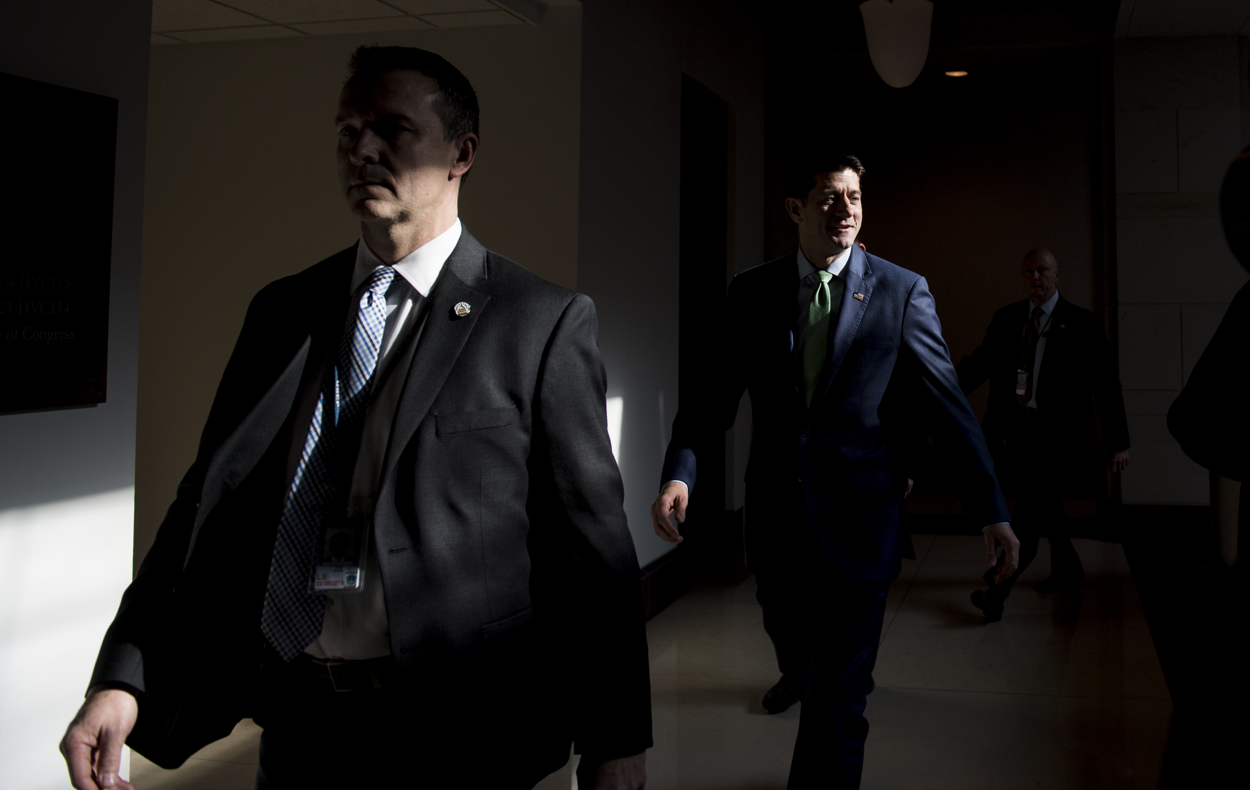 UNITED STATES - DECEMBER 12: Speaker of the House Paul Ryan, R-Wisc., leaves the House Intelligence Committee on Wednesday, Dec. 12, 2018, after the briefing by CIA Director Gina Haspel on the killing of Jamal Khashoggi. (Photo By Bill Clark/CQ Roll Call)