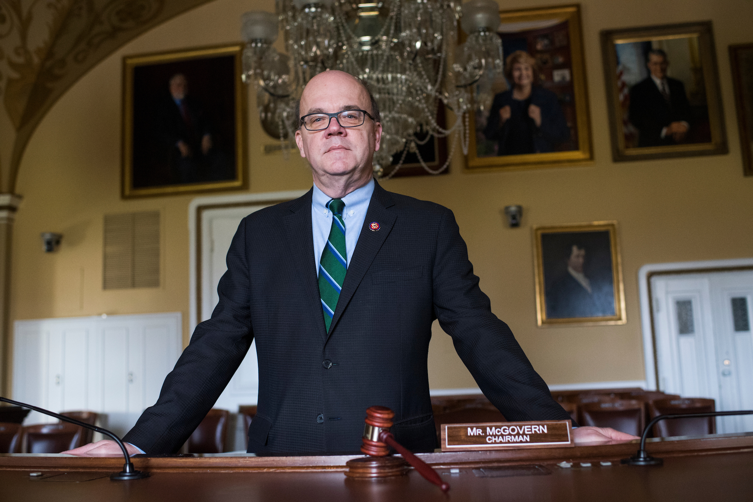UNITED STATES - JANUARY 07: House Rules Committee Chairman Jim McGovern, D-Mass., poses for a photo before an interview by CQ Roll Call in the Capitol on January 7, 2019. The gavel was his father, Walter's, who was president of the Worcester County Package Store Association. (Photo By Tom Williams/CQ Roll Call)