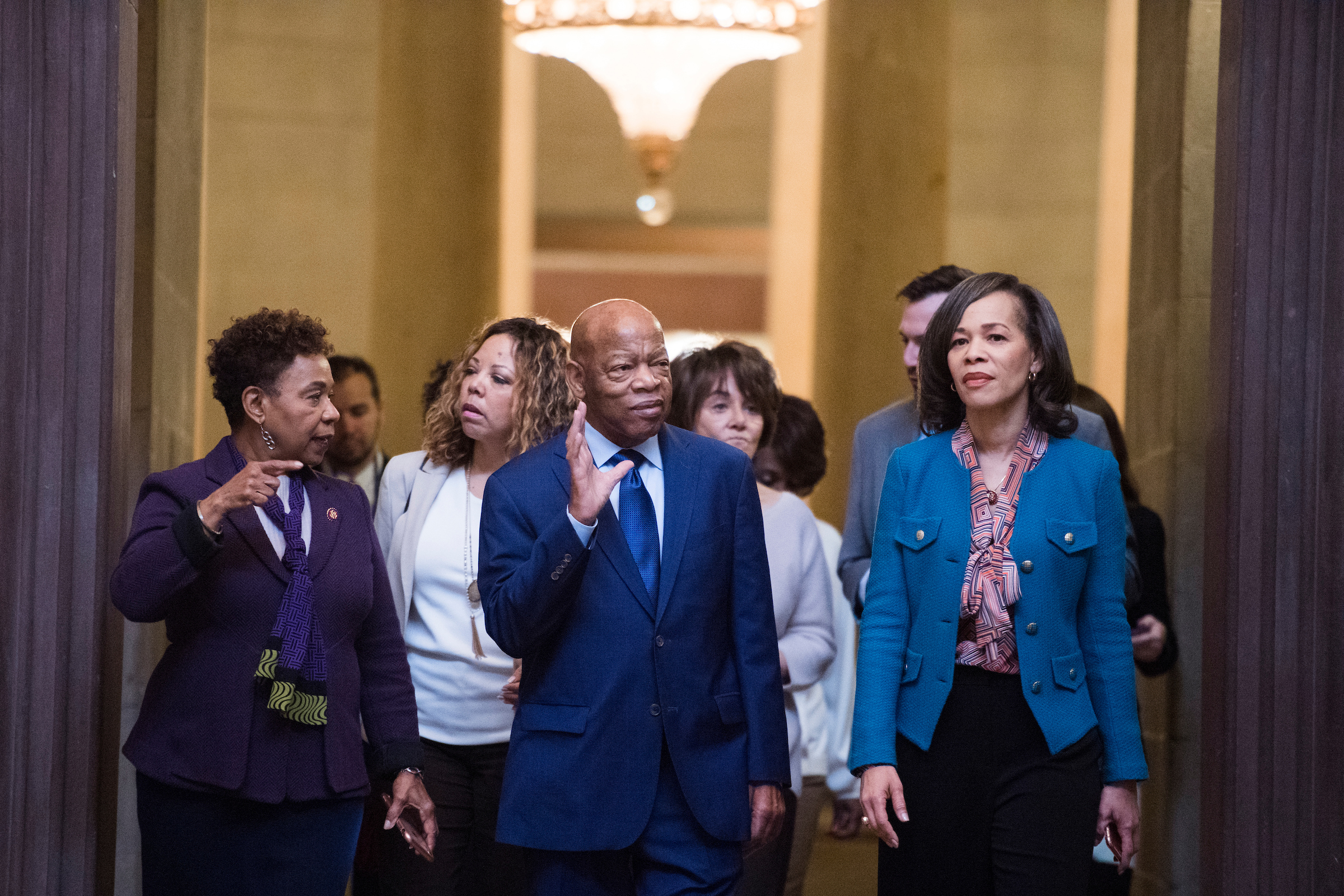 From left, Reps. Barbara Lee, D-Calif., Lucy McBath, D-Ga., John Lewis, D-Ga., Anna Eshoo, D-Calif., and Lisa Blunt Rochester, D-Del., walk through the Capitol Rotunda after watching a Senate a vote on a continuing resolution to re-open the government which failed, on Thursday, Jan. 24, 2019. (Tom Williams/CQ Roll Call)