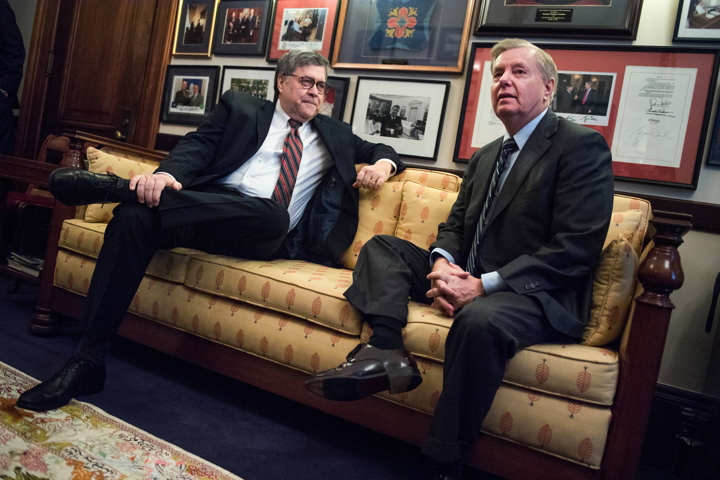 UNITED STATES - JANUARY 09: William Barr, left, nominee for attorney general, meets with Sen. Lindsey Graham, R-S.C., in Russell Building on January 9, 2019. (Photo By Tom Williams/CQ Roll Call)