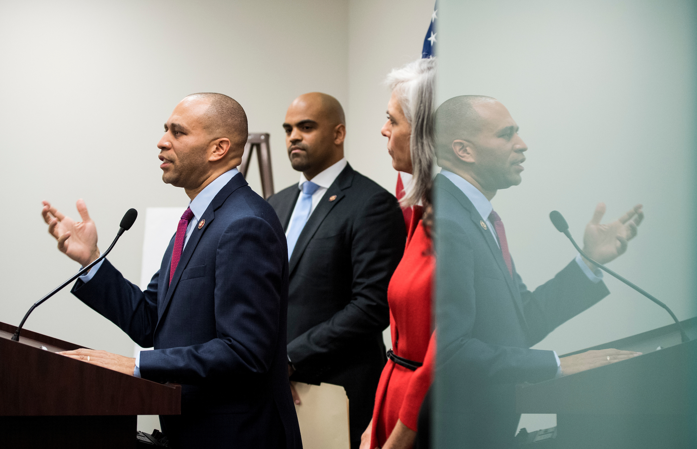 UNITED STATES - JANUARY 9: From left, Democratic Caucus Chair Hakeem Jeffries, D-N.Y., Rep. Colin Allred, D-Texas, and Democratic Caucus Vice Chair Katherine Clark, D-Mass., hold the weekly caucus press conference in the Capitol on Wed. Jan. 9, 2018. (Photo By Bill Clark/CQ Roll Call)