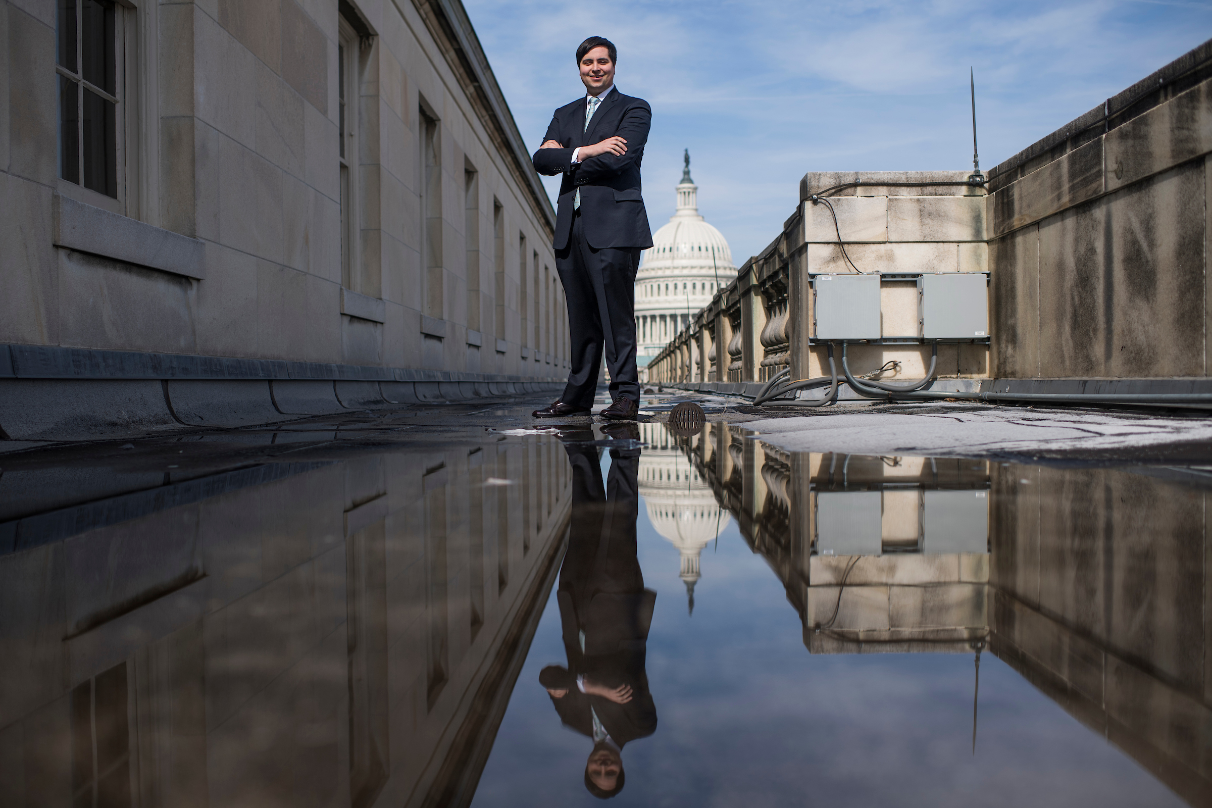 UNITED STATES - FEBRUARY 21: Jeffrey Kempler, from the office of Rep. Jim Banks, R-Ind., is pictured on top of Longworth Building on Thursday, February 21, 2019. (Photo By Tom Williams/CQ Roll Call)