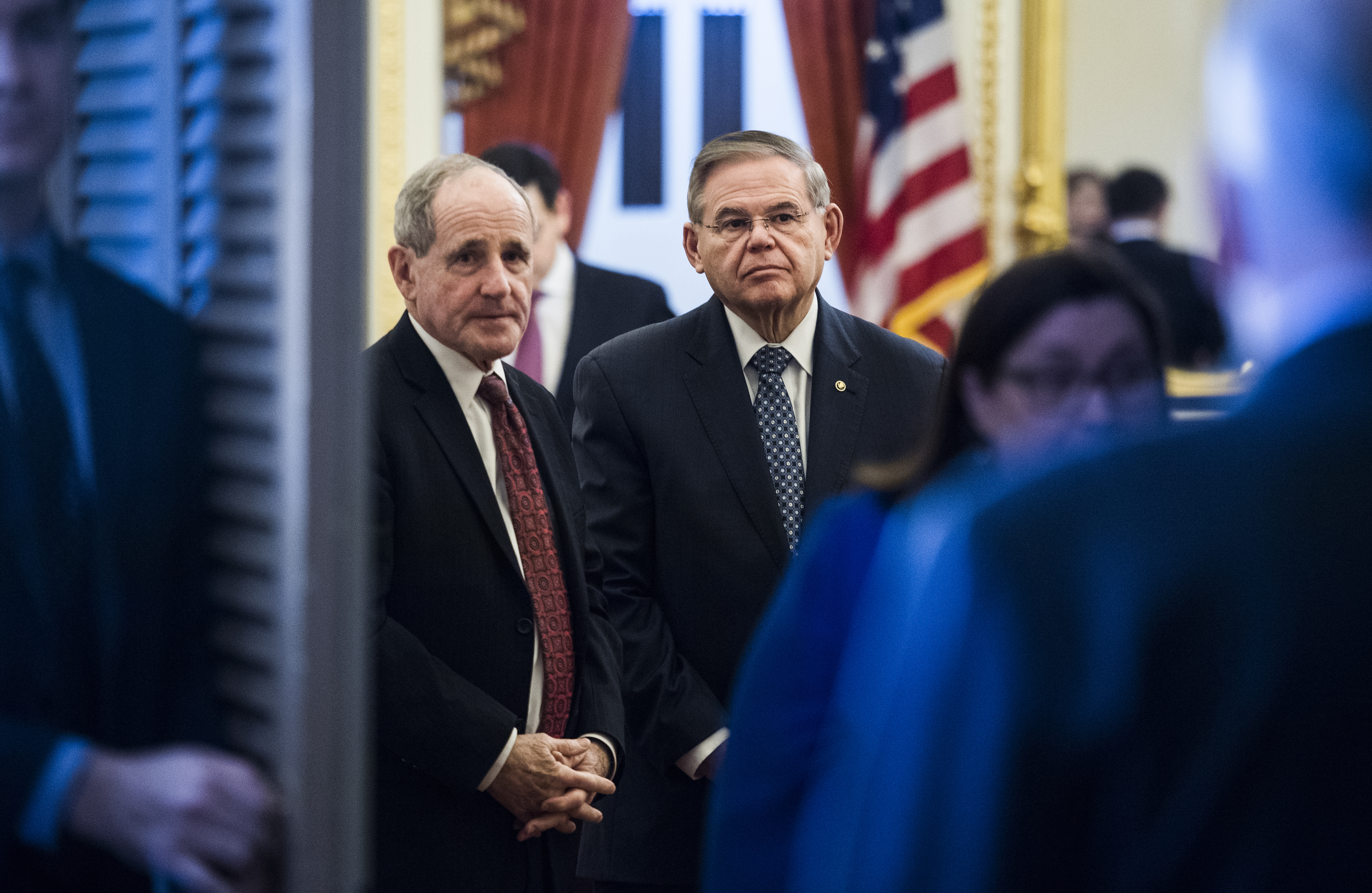 UNITED STATES - FEBRUARY 14: Chairman James Risch, R-Idaho, left, and ranking member Sen. Bob Menendez, D-N.J., wait for the arrival of Colombian President Ivan Duque Marquez to arrive for a meeting with members of the Senate Foreign Relations Committee in the Capitol on Thursday, February 14, 2019. (Photo By Tom Williams/CQ Roll Call)