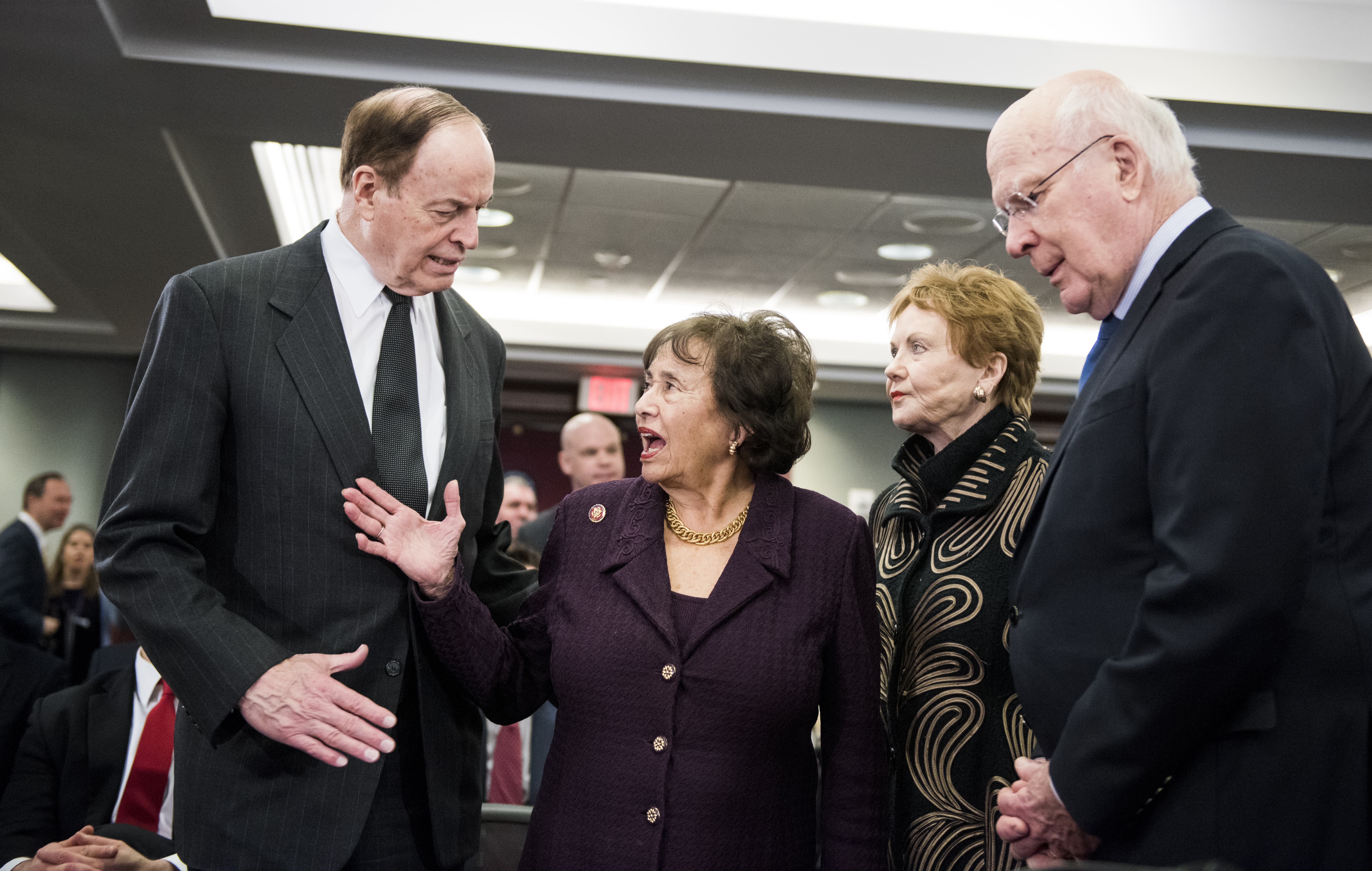 UNITED STATES - JANUARY 30: From left, Senate Appropriations chairman Richard Shelby, R-Ala., House Appropriations chairwoman Nita Lowey, D-N.Y., House Appropriations ranking member Kay Granger, R-Texas, and Senate Appropriations ranking member Patrick Leahy, D-Vt., talk before the start of the Homeland Security Appropriations Conference Committee on Wednesday, Jan. 30, 2019. (Photo By Bill Clark/CQ Roll Call)