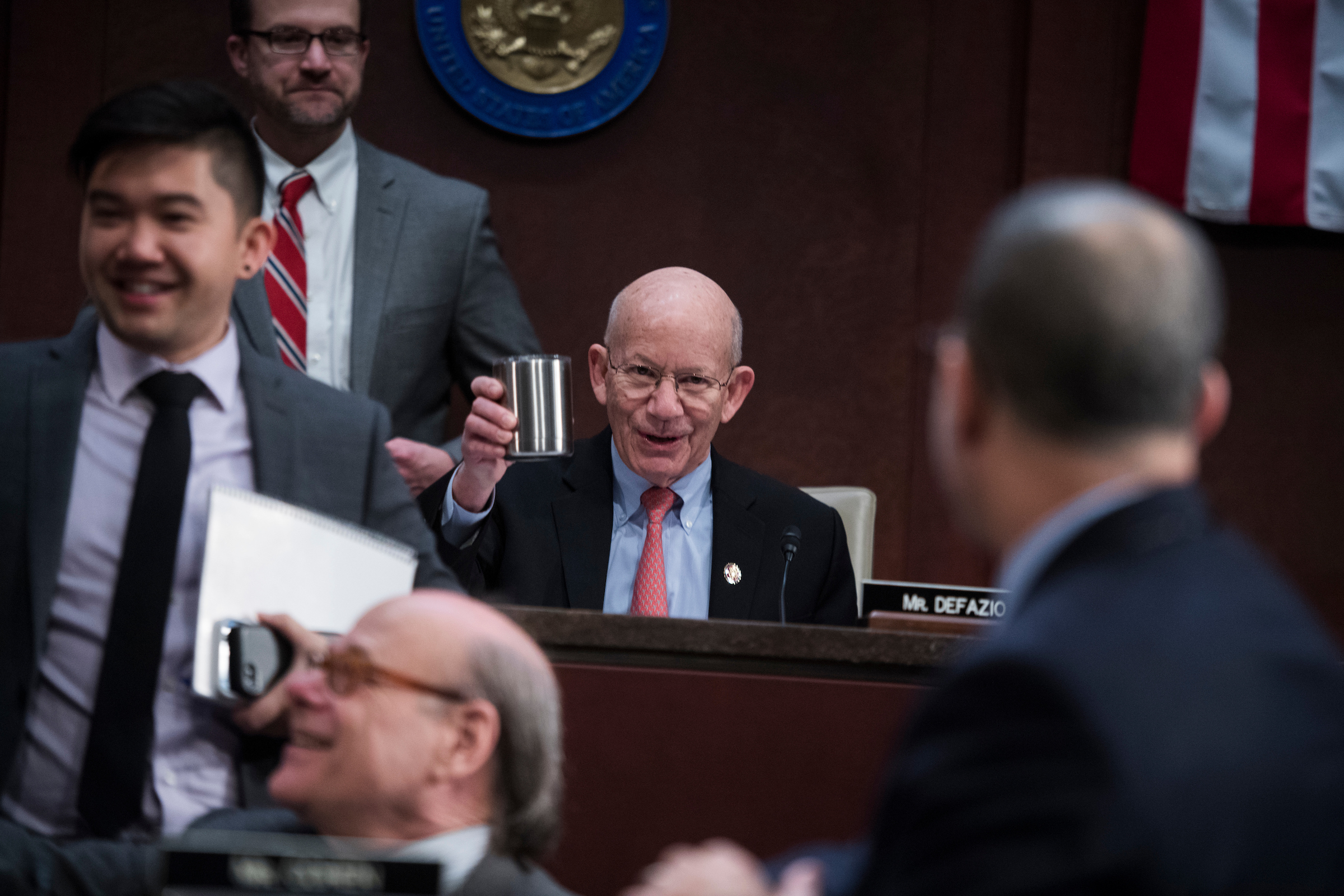 "UNITED STATES - FEBRUARY 07: Chairman Peter DeFazio, D-Ore., conducts a House Transportation and Infrastructure Committee hearing in the Capitol Visitor Center titled ""The Cost of Doing Nothing: Why Investing in Our Nation's Infrastructure Cannot Wait,"" on Thursday, February 7, 2019. (Photo By Tom Williams/CQ Roll Call)"