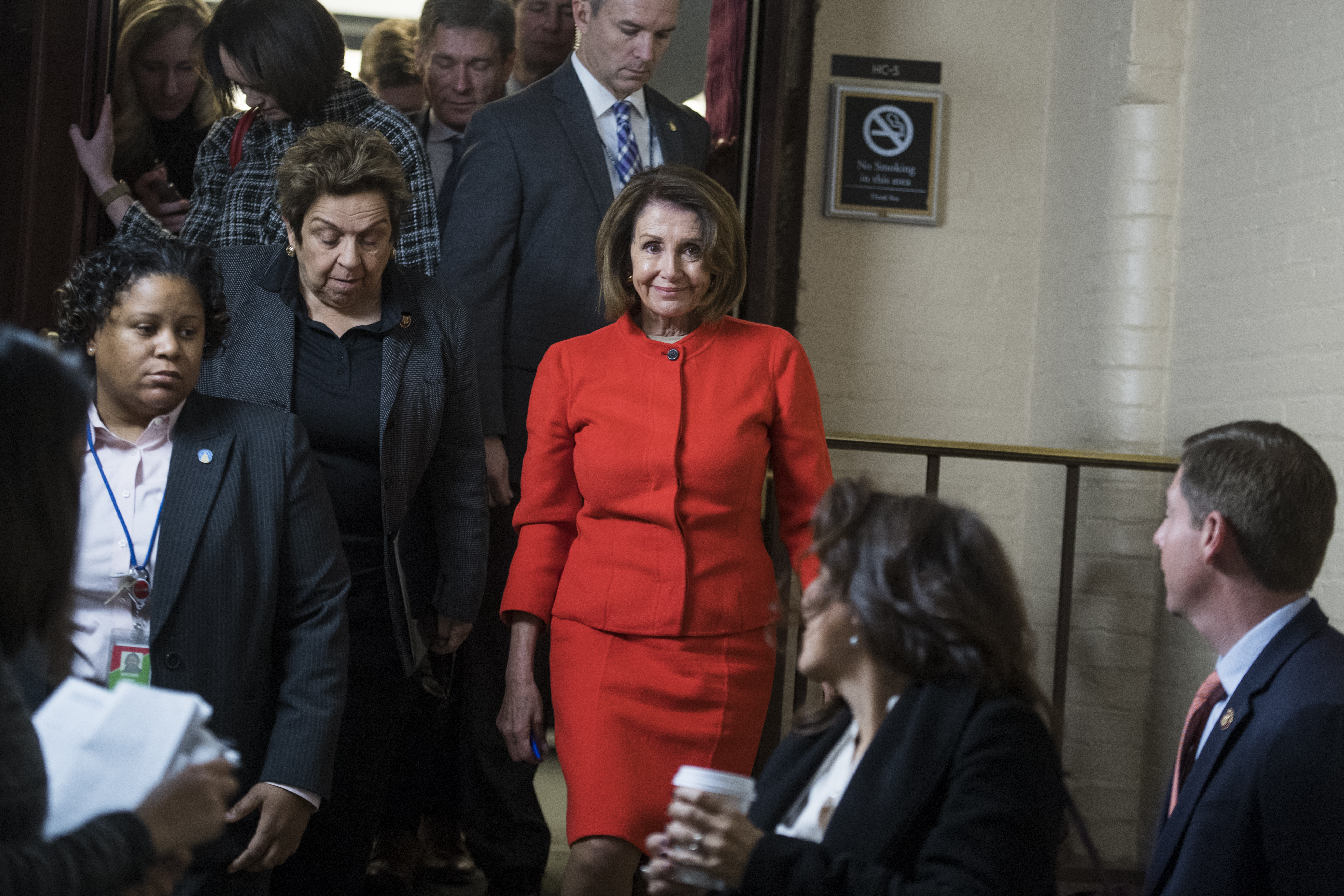 UNITED STATES - JANUARY 30: Speaker Nancy Pelosi, D-Calif., and Rep. Donna Shalala, D-Fla., left, leave a meeting of the House Democratic Caucus in the Capitol on Wednesday, January 30, 2019. (Photo By Tom Williams/CQ Roll Call)