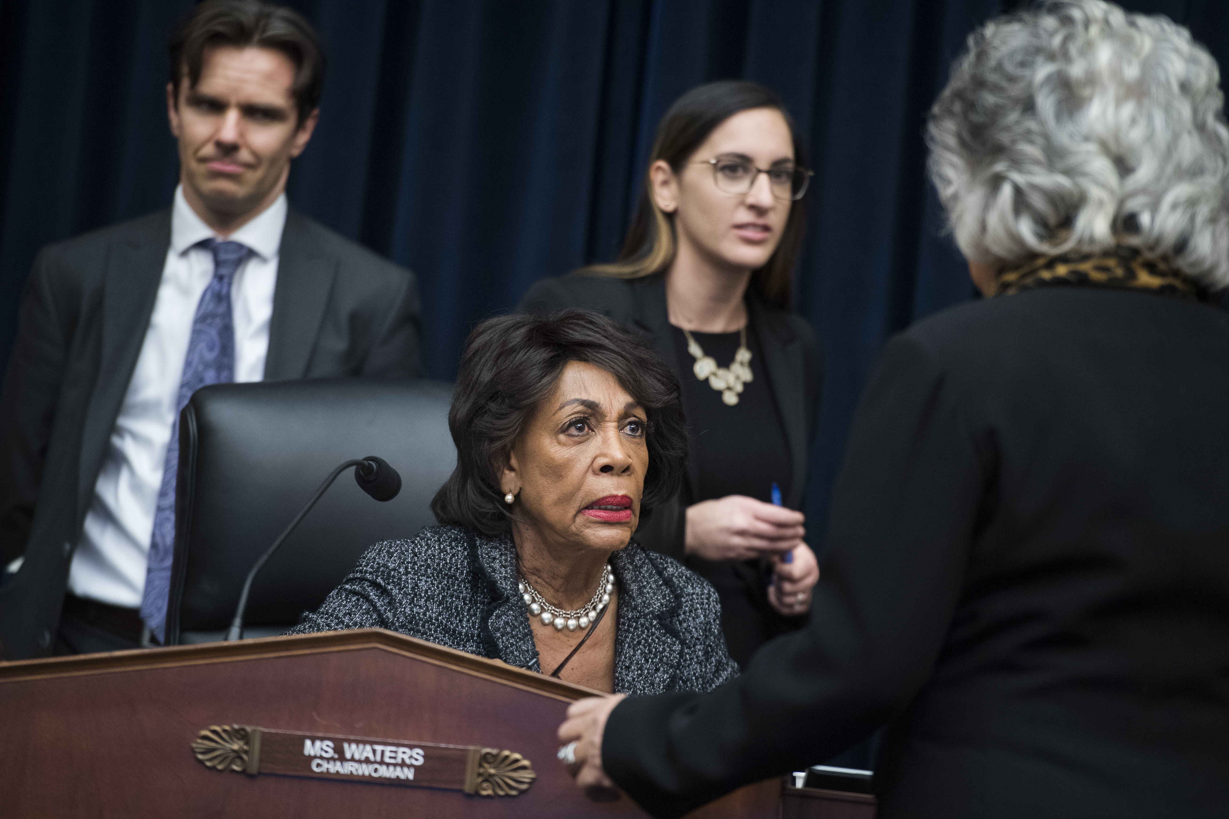 UNITED STATES - JANUARY 29: Chairwoman Maxine Waters, D-Calif., left, talks with Rep. Joyce Beatty, D-Ohio, during a House Financial Services Committee organizational meeting in Rayburn Building on Tuesday, January 29, 2019. (Photo By Tom Williams/CQ Roll Call)