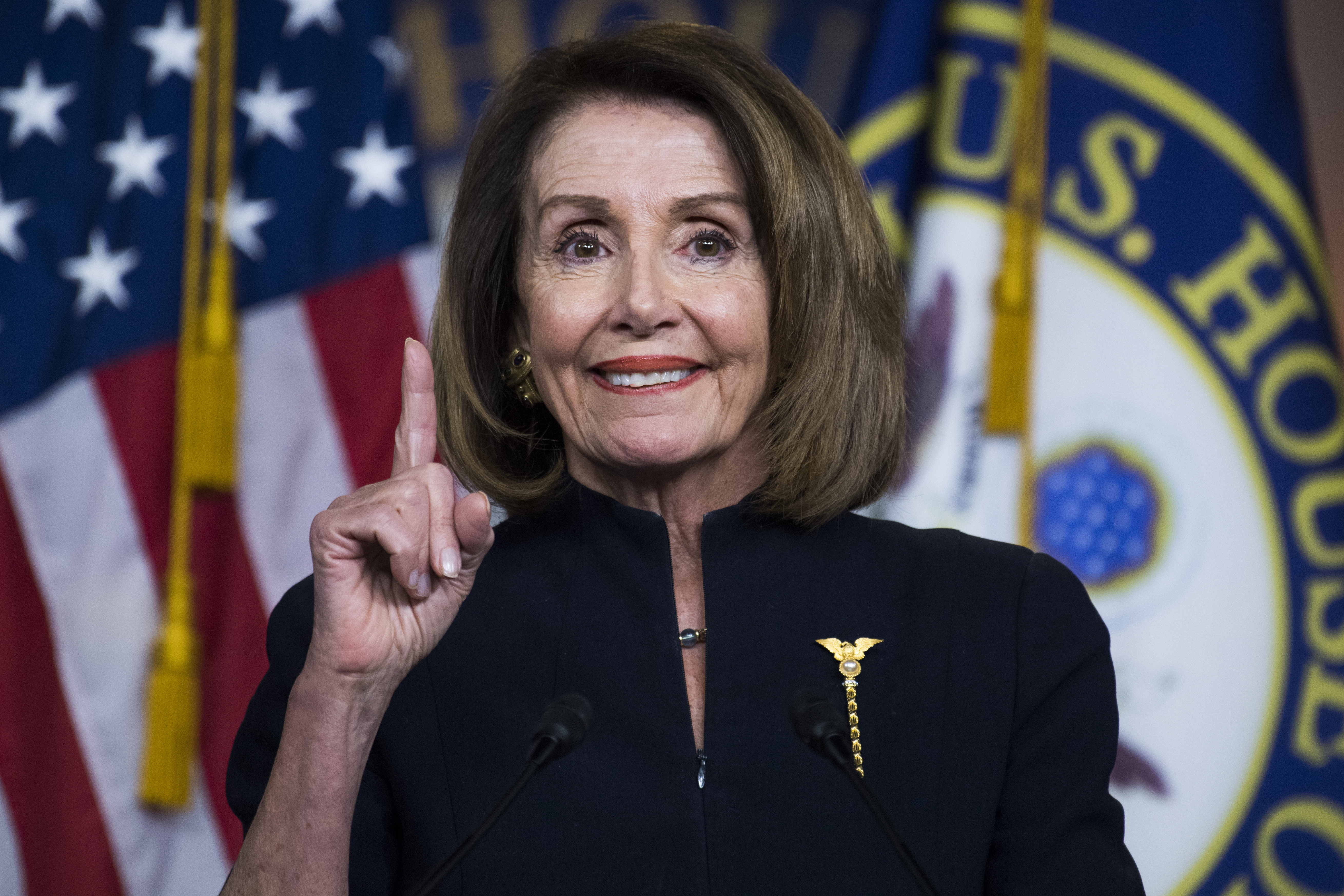UNITED STATES - FEBRUARY 14: Speaker Nancy Pelosi, D-Calif., conducts her weekly news conference in the Capitol Visitor Center where she fielded questions about the bipartisan government funding bill on Thursday, February 14, 2019. (Photo By Tom Williams/CQ Roll Call)