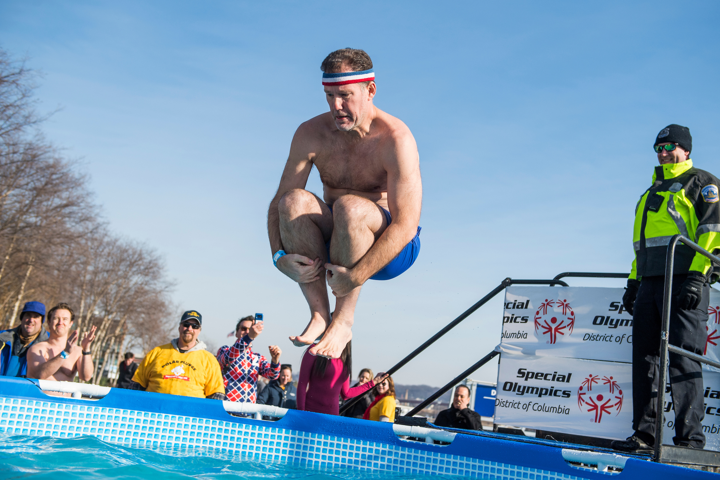 UNITED STATES - FEBRUARY 02: Political strategist Doug Heye participates in the Polar Plunge fundraiser to benefit the Special Olympics DC, at the Yards Park on Saturday, February 2, 2019. Heye's team, Cobra Kai, raised over $8000. (Photo By Tom Williams/CQ Roll Call)