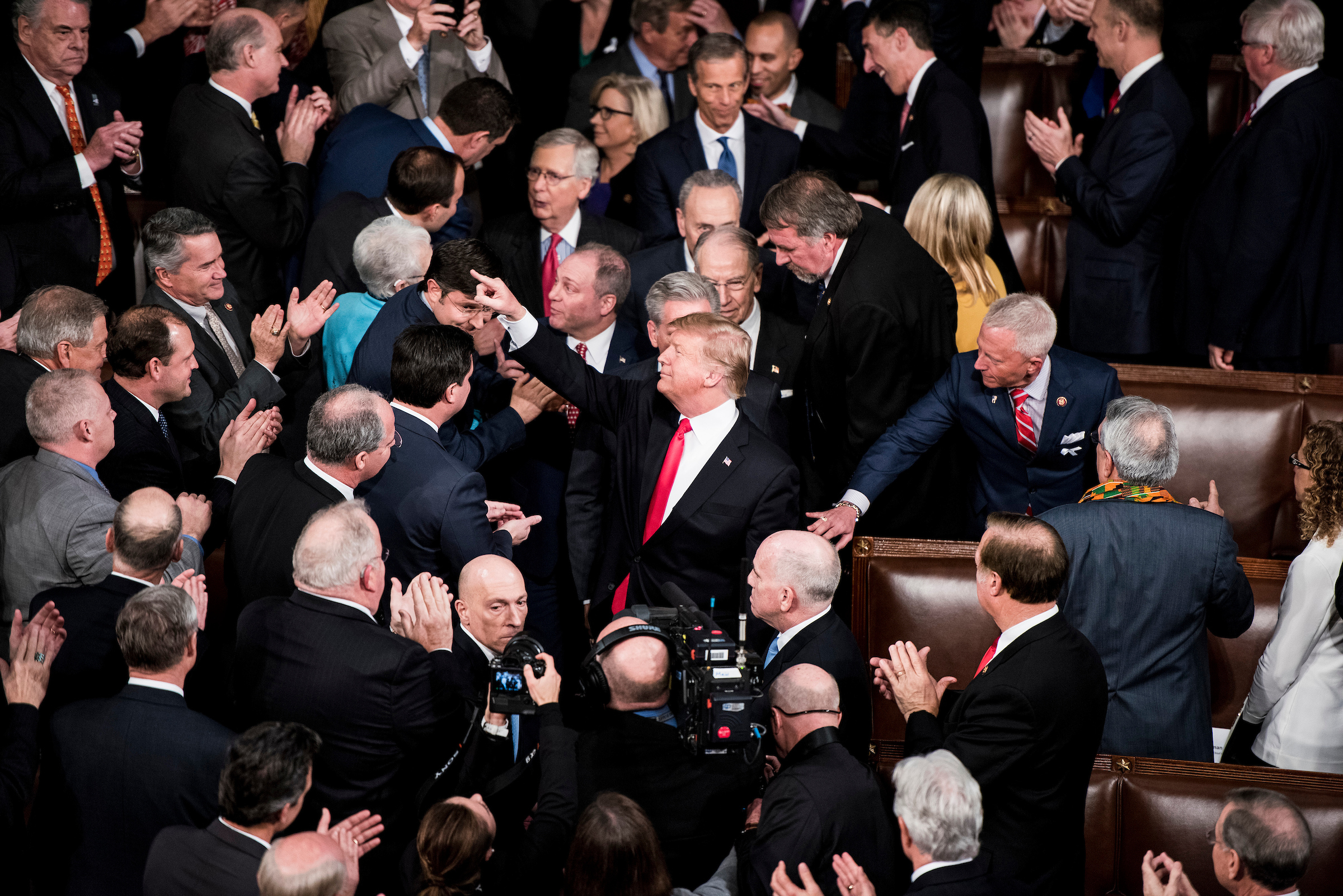 UNITED STATES - FEBRUARY 5: President Donald Trump arrives in the House chamber to deliver his State of the Union Address to a joint session of Congress in the Capitol on Tuesday, Feb. 5, 2019. (Photo By Bill Clark/CQ Roll Call)