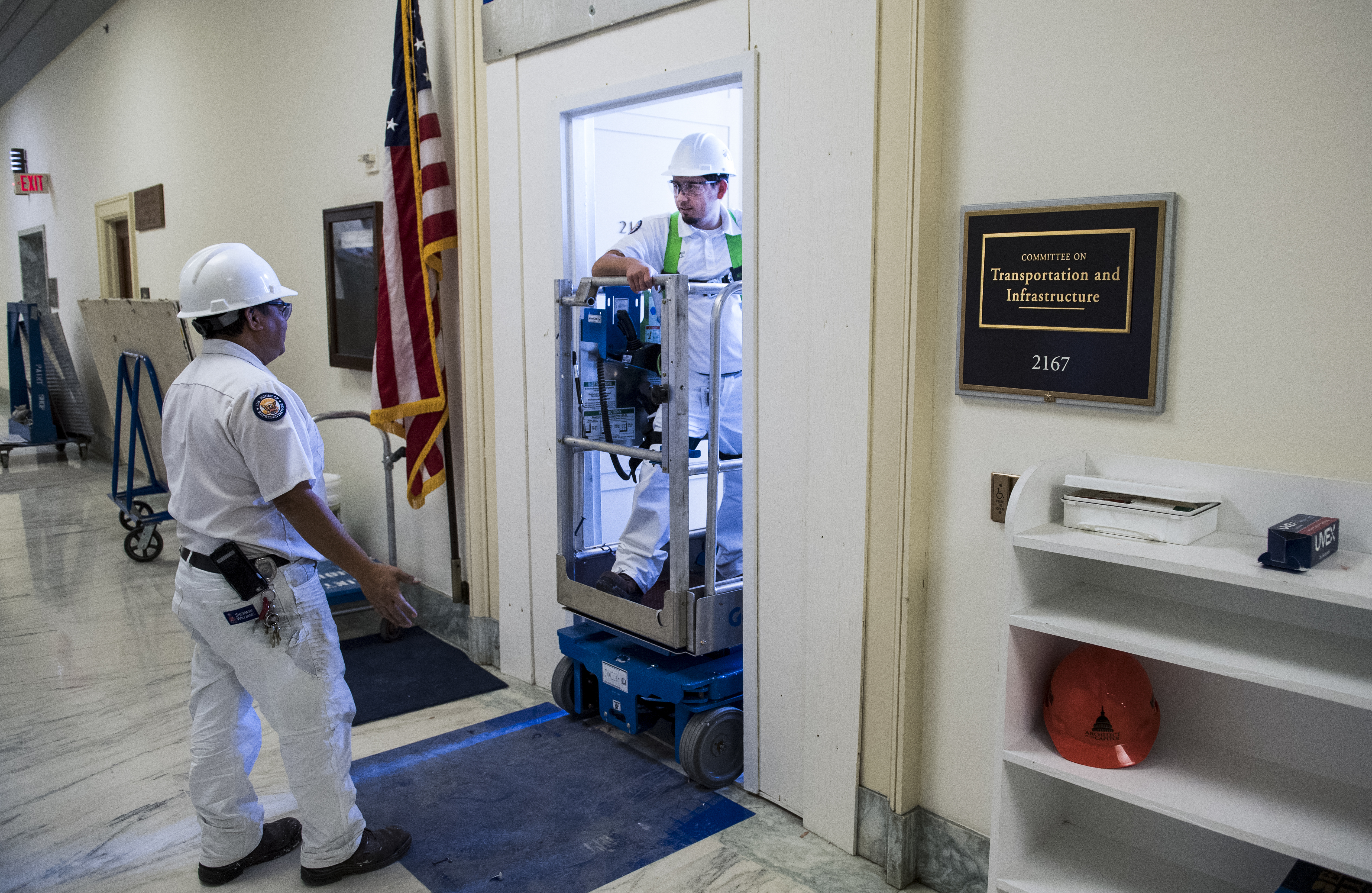 UNITED STATES - FEBRUARY 13: Workers renovate the House Transportation and Infrastructure Committee hearing room in Rayburn Building on Wednesday, February 13, 2019. (Photo By Tom Williams/CQ Roll Call)