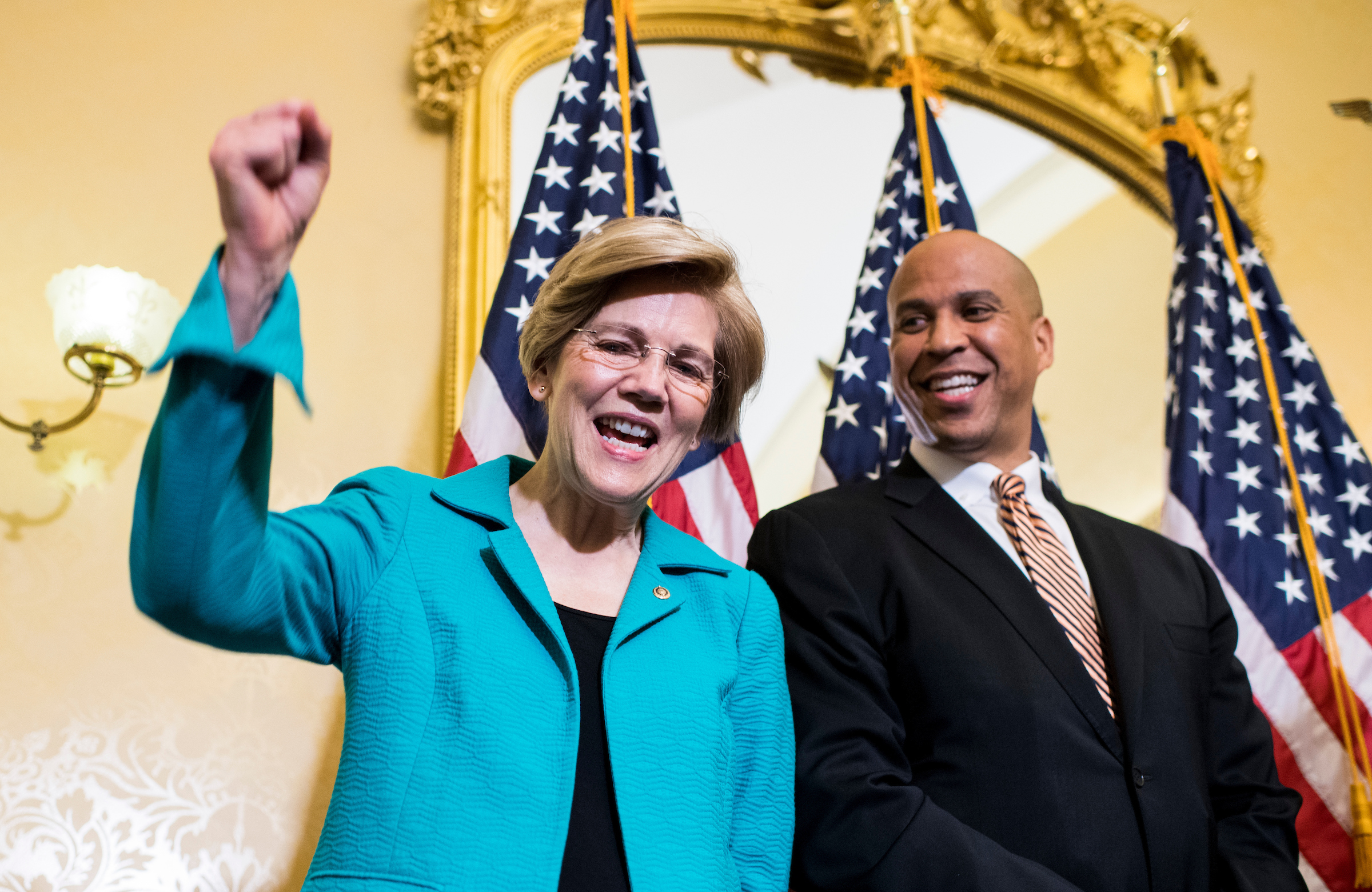 "Sen. Cory Booker, D-N.J., and Sen. Elizabeth Warren, D-Mass., hold their news conference in the Capitol to introduce the ""Dignity for Incarcerated Women Act"" on Tuesday, July 11, 2017. (Photo By Bill Clark/CQ Roll Call)"