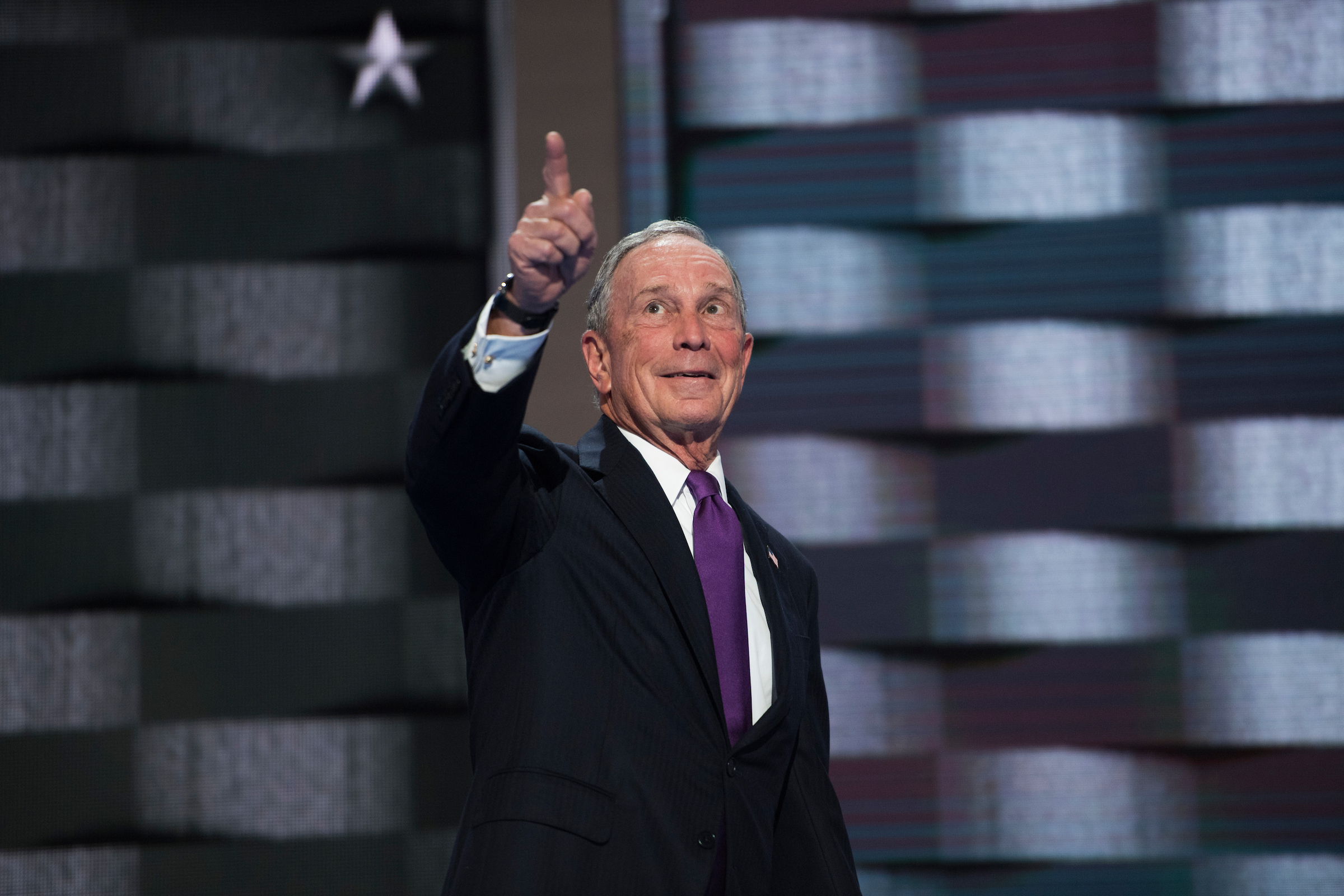 UNITED STATES - JULY 27: Michael Bloomberg appears on stage at the Wells Fargo Center in Philadelphia, Pa., after the VP spoke on the third day of the Democratic National Convention, July 27, 2016. (Photo By Tom Williams/CQ Roll Call)