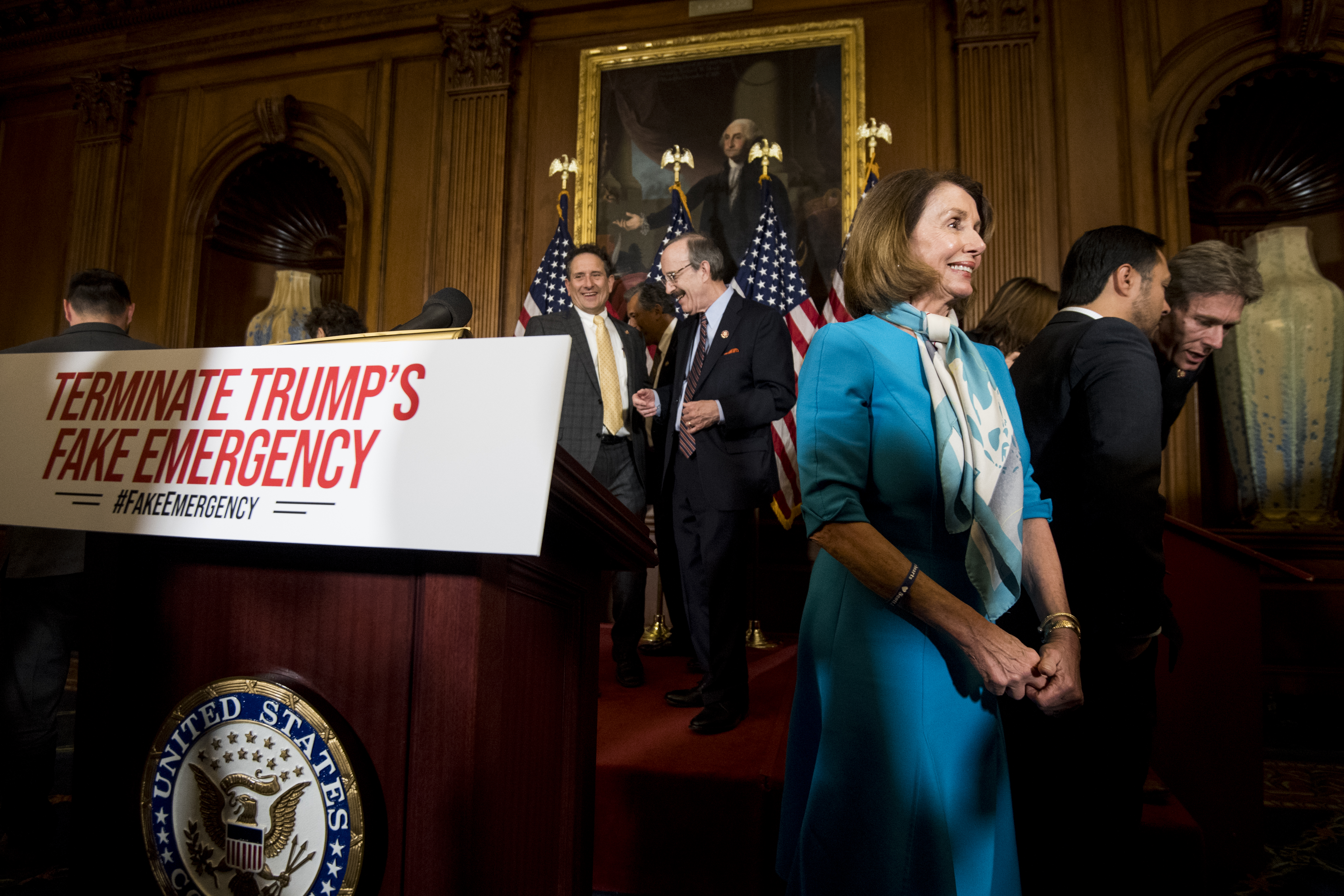 UNITED STATES - FEBRUARY 25: Speaker of the House Nancy Pelosi, D-Calif., leaves the podium after the House Democrats' news conference on the Privileged Resolution to Terminate President Trump's Emergency Declaration on Monday, Feb. 25, 2019. (Photo By Bill Clark/CQ Roll Call)