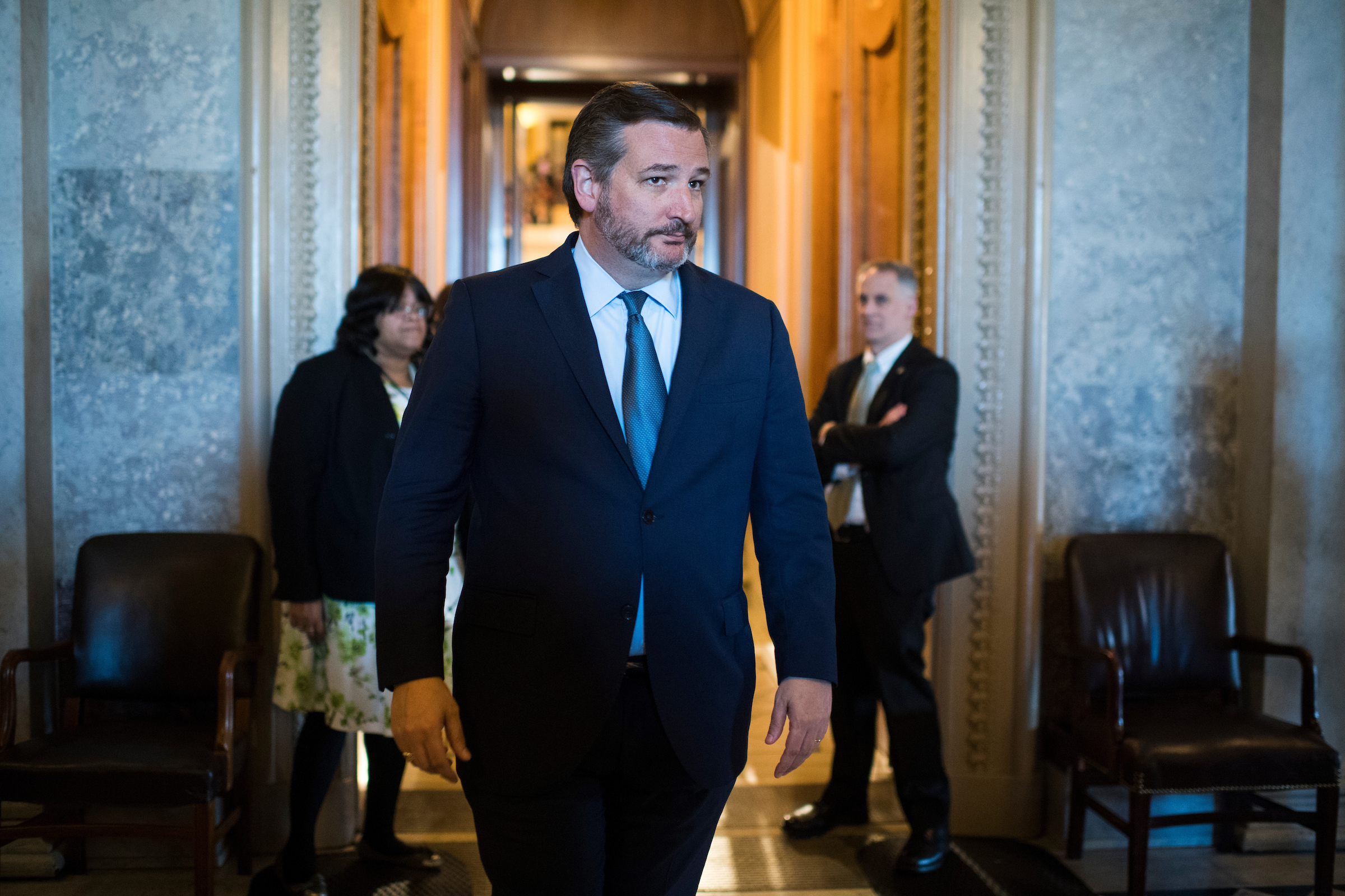 UNITED STATES - MARCH 14: Sen. Ted Cruz, R-Texas, is seen in the Capitol after the Senate voted to terminate President Trump's southern border wall declaration of emergency on Thursday March 14, 2019.(Photo By Tom Williams/CQ Roll Call)