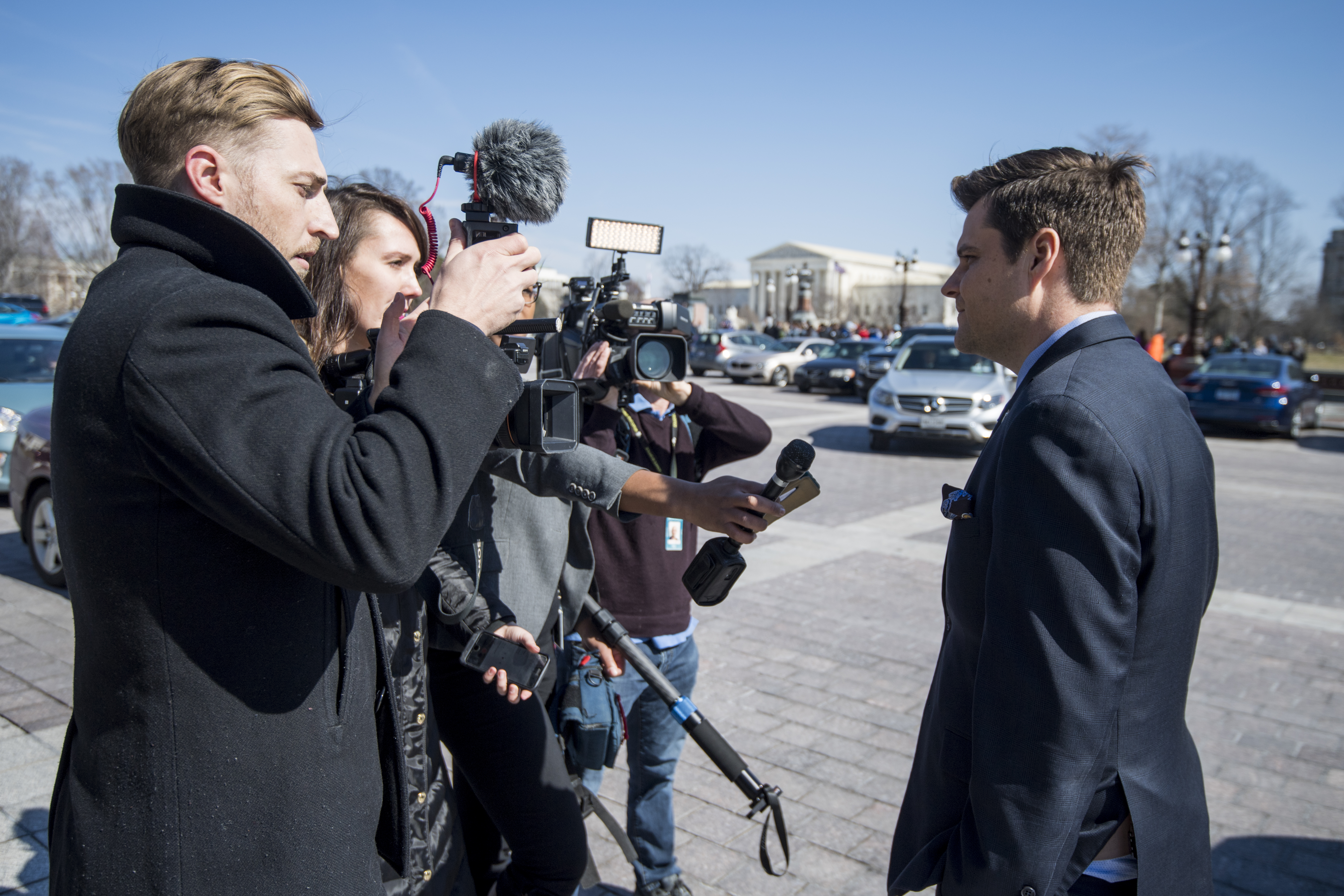 UNITED STATES - FEBRUARY 28: Rep. Matt Gaetz, R-Fla., speaks to cameras about his Michael Cohen tweet as he leaves the Capitol after the final votes of the week on Thursday, Feb. 28, 2019. (Photo By Bill Clark/CQ Roll Call)