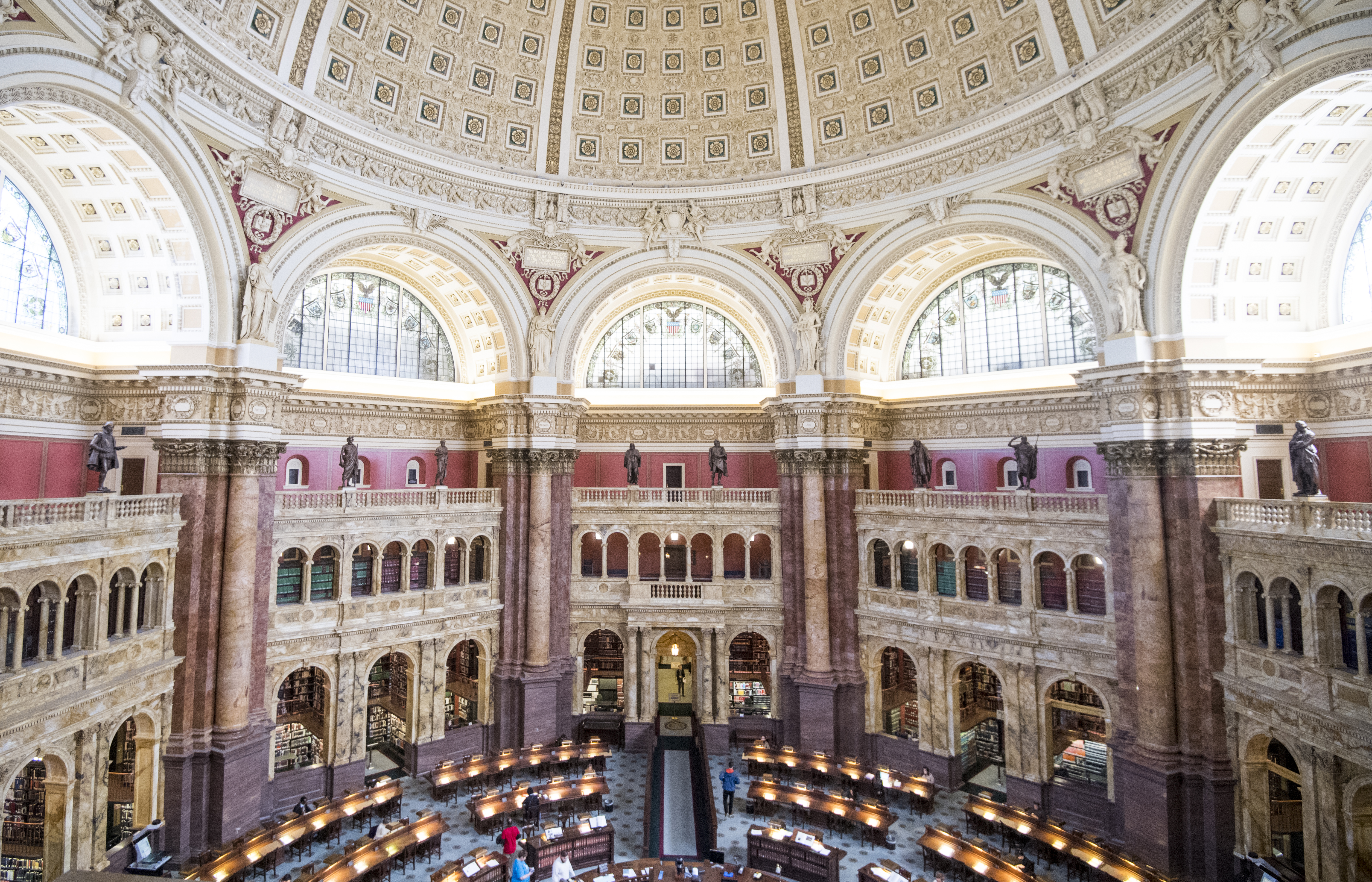UNITED STATES - MARCH 27: The main reading room at the Library of Congress is seen from the glass enclosed tourists viewing area on Wednesday, March 27, 2019. (Photo By Bill Clark/CQ Roll Call)