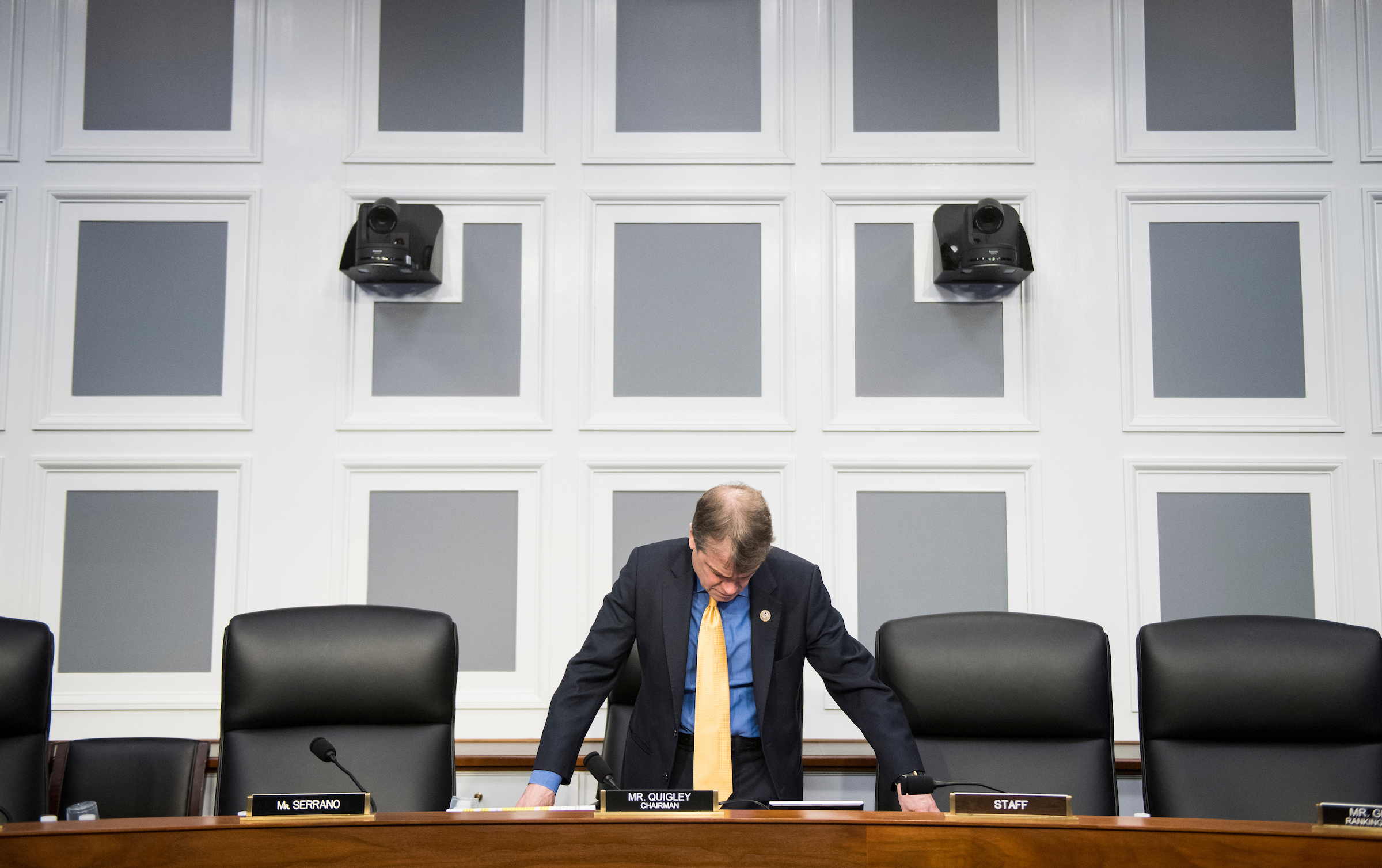 "UNITED STATES - MARCH 13: Rep. Mike Quigley, D-Ill., prepares to chair the House Appropriations Subcommittee on Financial Services and General Government Subcommittee hearing on ""GSA (General Services Administration) Oversight Hearing"" on Wednesday, March 13, 2019. GSA Administrator Emily Murphy testified during the hearing. (Photo By Bill Clark/CQ Roll Call)"