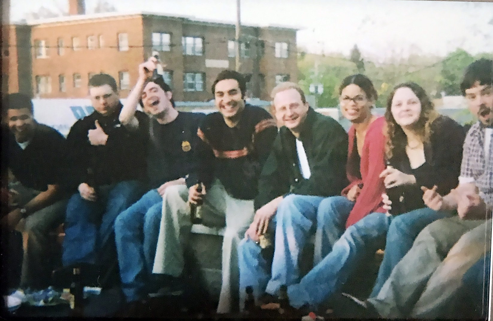 Members of Team Gephardt pictured in 2003: from left, Bill Burton, Travis Lowe, Brendan Greiner, Vijay Uppal, Preston Elliott, Rebecca Pearcey, Jessica Walls-Lavelle and Andy LaVigne. (Courtesy Rebecca Pearcey)