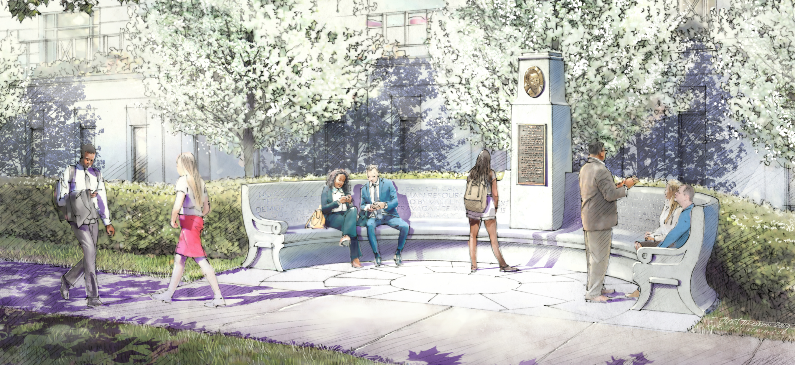 An artist's rendering of the incoming monument for Del. Norton.