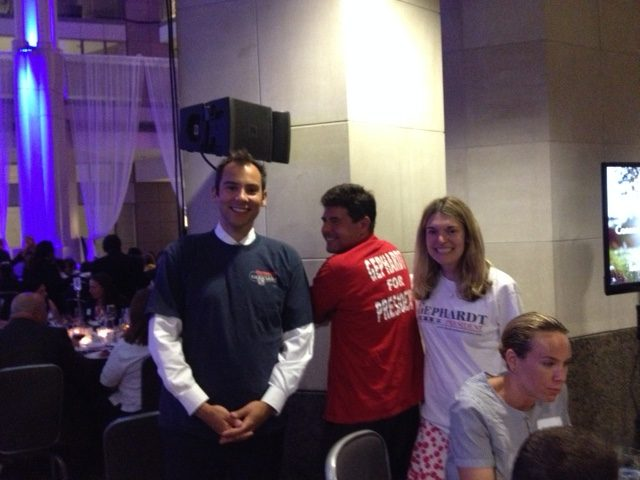 From left, Charlie Kelly, John Lapp and Abby Curran Horrell at an informal Team Gephardt reunion at a League of Conservation Voters dinner in the summer of 2015. (Courtesy Charlie Kelly)
