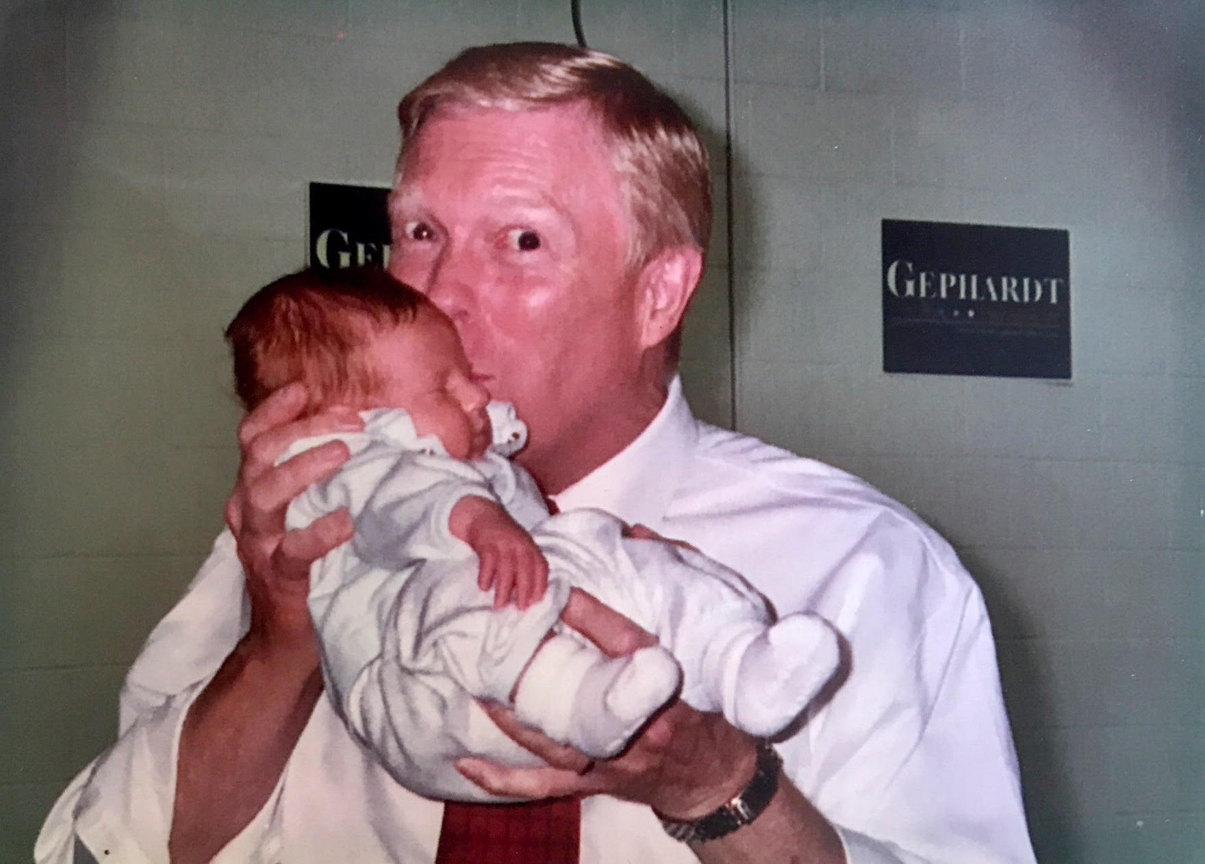 Gephardt with newborn Truman Lapp on the campaign trail in Iowa during his 2004 run for president. (Courtesy John Lapp)