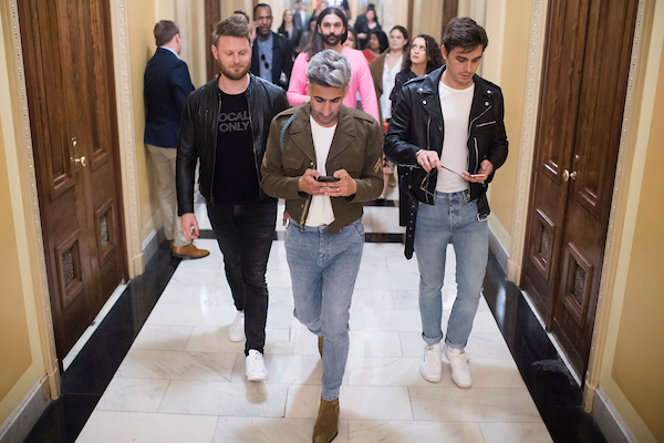UNITED STATES - APRIL 4: From left, Bobby Berk, Tan France, foreground, Jonathan Van Ness, and Antoni Porowski from the Netflix series Queer Eye, are seen in the Capitol after meeting with Speaker Nancy Pelosi, D-Calif., on Thursday, April 4, 2019. (Photo By Tom Williams/CQ Roll Call)