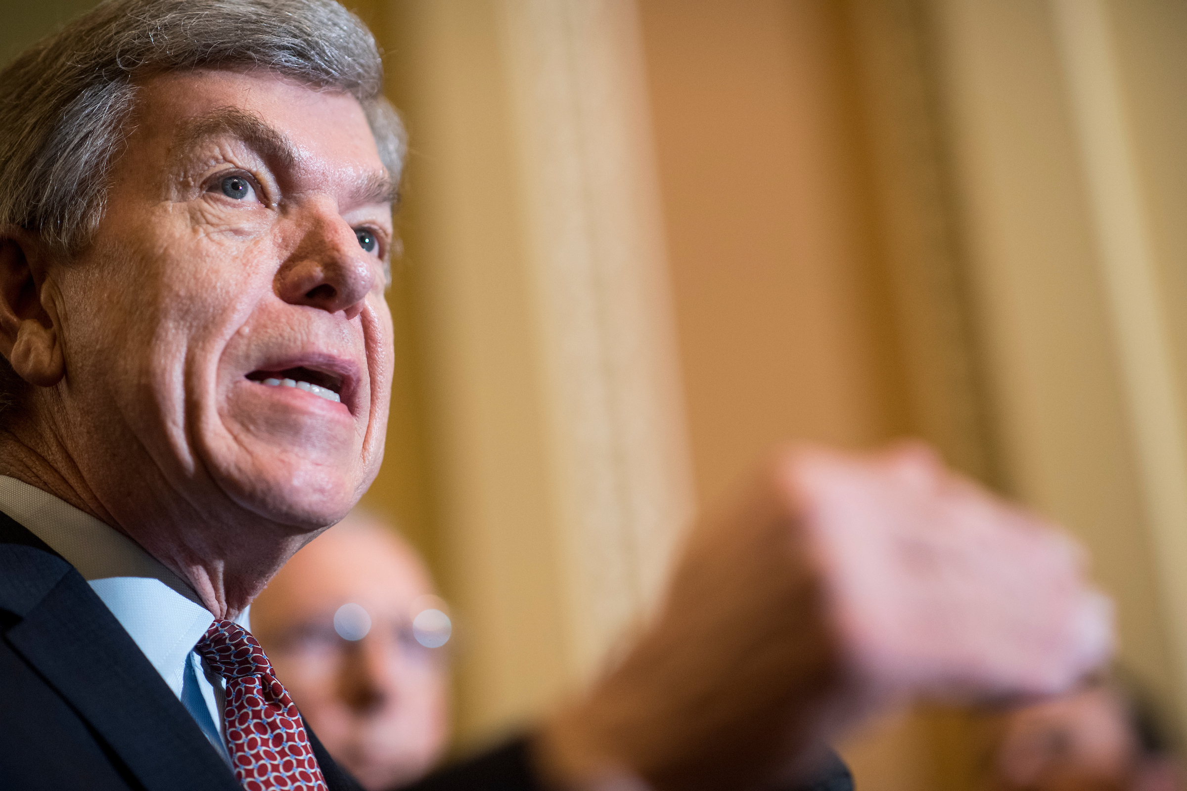 UNITED STATES - APRIL 24: Sen. Roy Blunt, R-Mo., speaks to the media in the Ohio Clock Corridor in the Capitol on Tuesday, April 24, 2018. (Photo By Bill Clark/CQ Roll Call)
