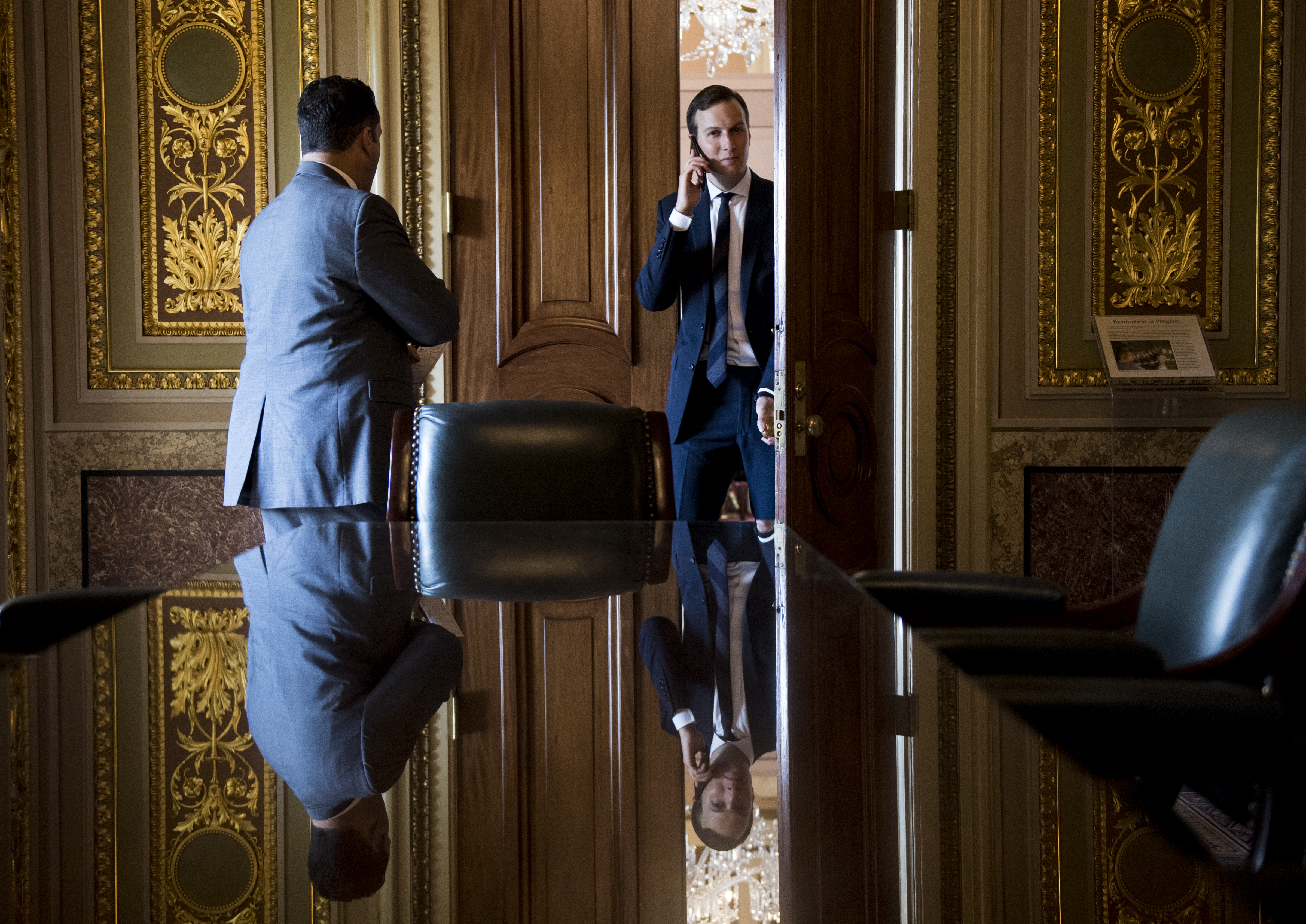 UNITED STATES - MAY 14: Jared Kushner, senior advisor and son in law to President Trump, steps out of the Vice President's office in the Senate Reception Room for a phone call after attending the Senate Republicans' weekly policy lunch in the Capitol on Tuesday, May 14, 2019. (Photo By Bill Clark/CQ Roll Call)