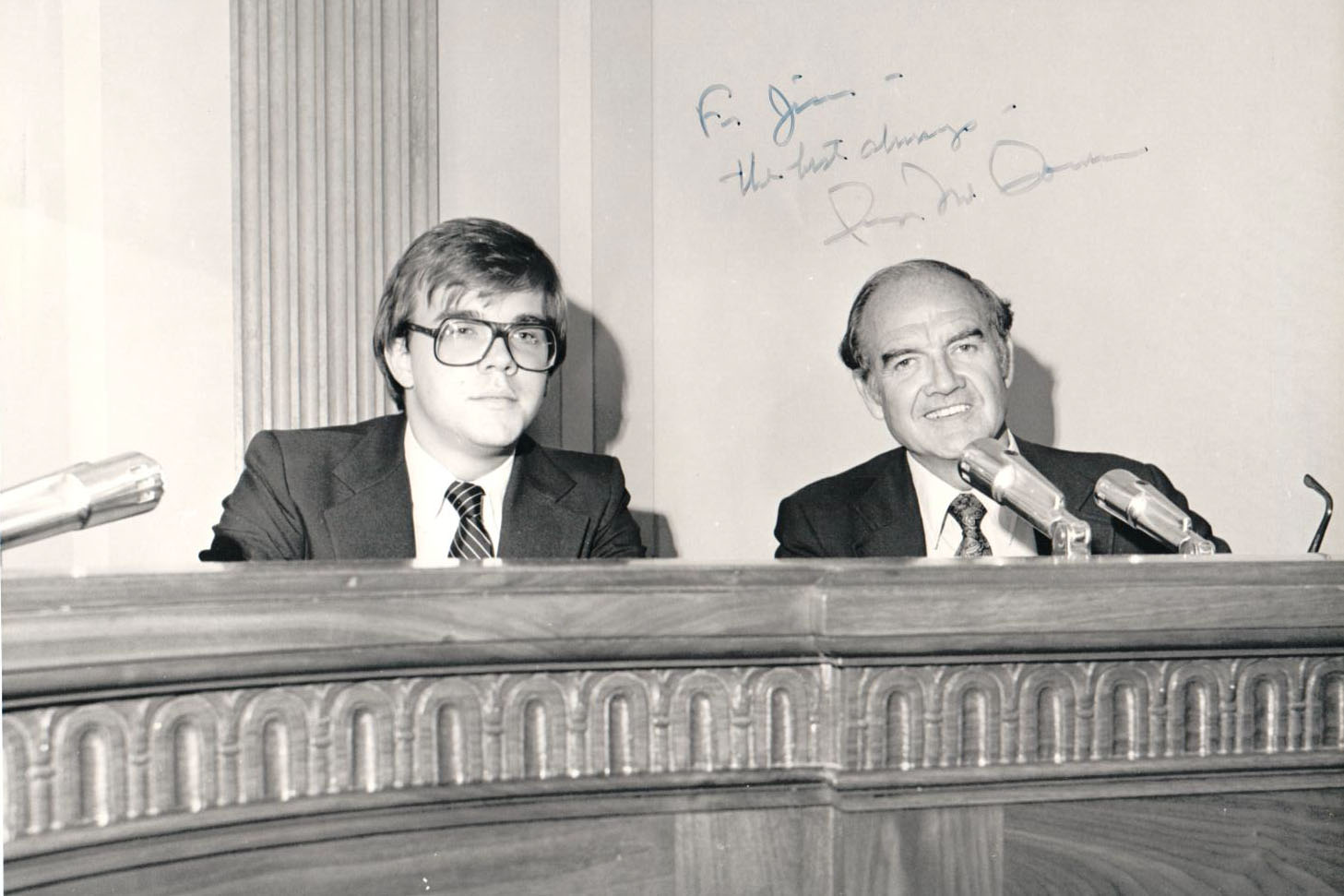 Rep. Jim McGovern (left) is pictured with his boss Sen. George McGovern soon after joining his office in [WHAT YEAR]. (Courtesy of Jim McGovern)