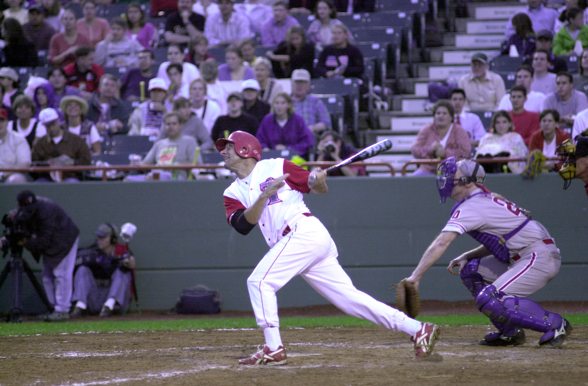 Baseball8(DG)072600 -- Steve Largent, R-Okla., takes a swing at home plate during the 39th Annual Congressional Baseball Game.