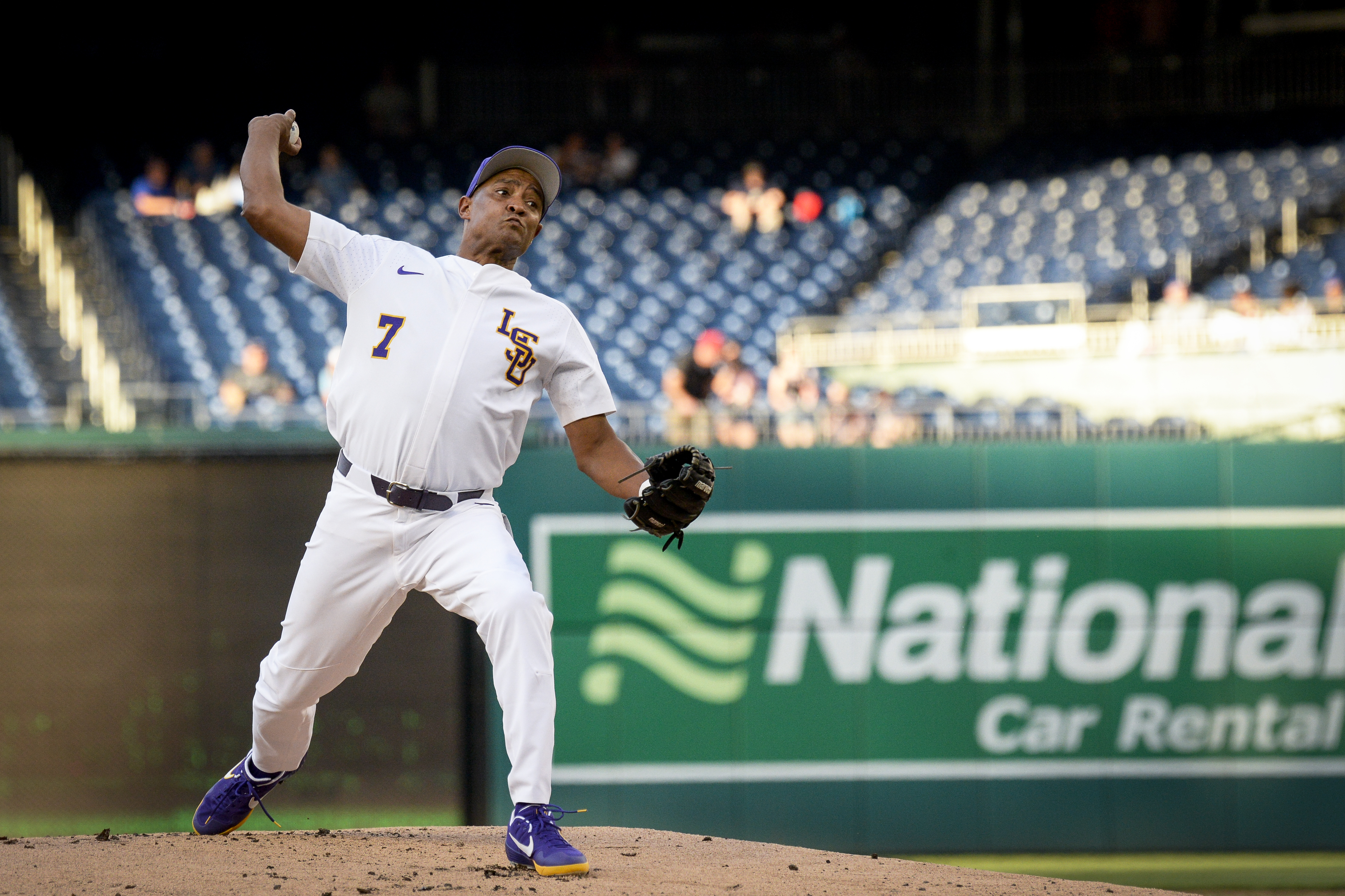 UNITED STATES - JUNE 26: Rep. Cedric Richmond, D-La., throws a pitch during the 58th annual Congressional Baseball Game at Nationals Park on Wednesday June 26, 2019. (Photo by Caroline Brehman/CQ Roll Call)