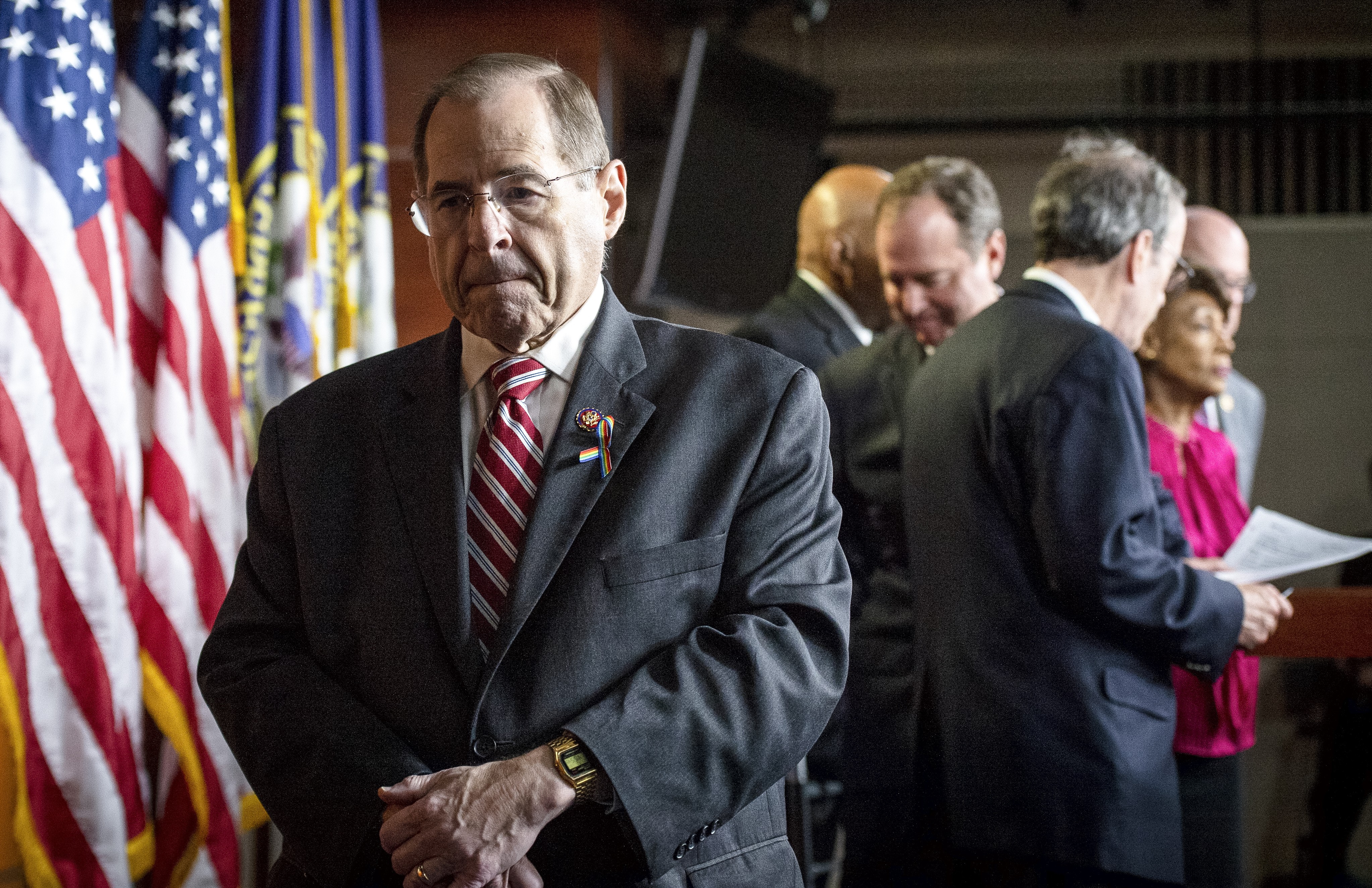 UNITED STATES - JUNE 11: House Judiciary Committee Chairman Jerrold Nadler, D-N.Y., departs after speaking at a news conference in the Capitol in Washington on Tuesday June 11, 2019. (Photo by Caroline Brehman/CQ Roll Call)