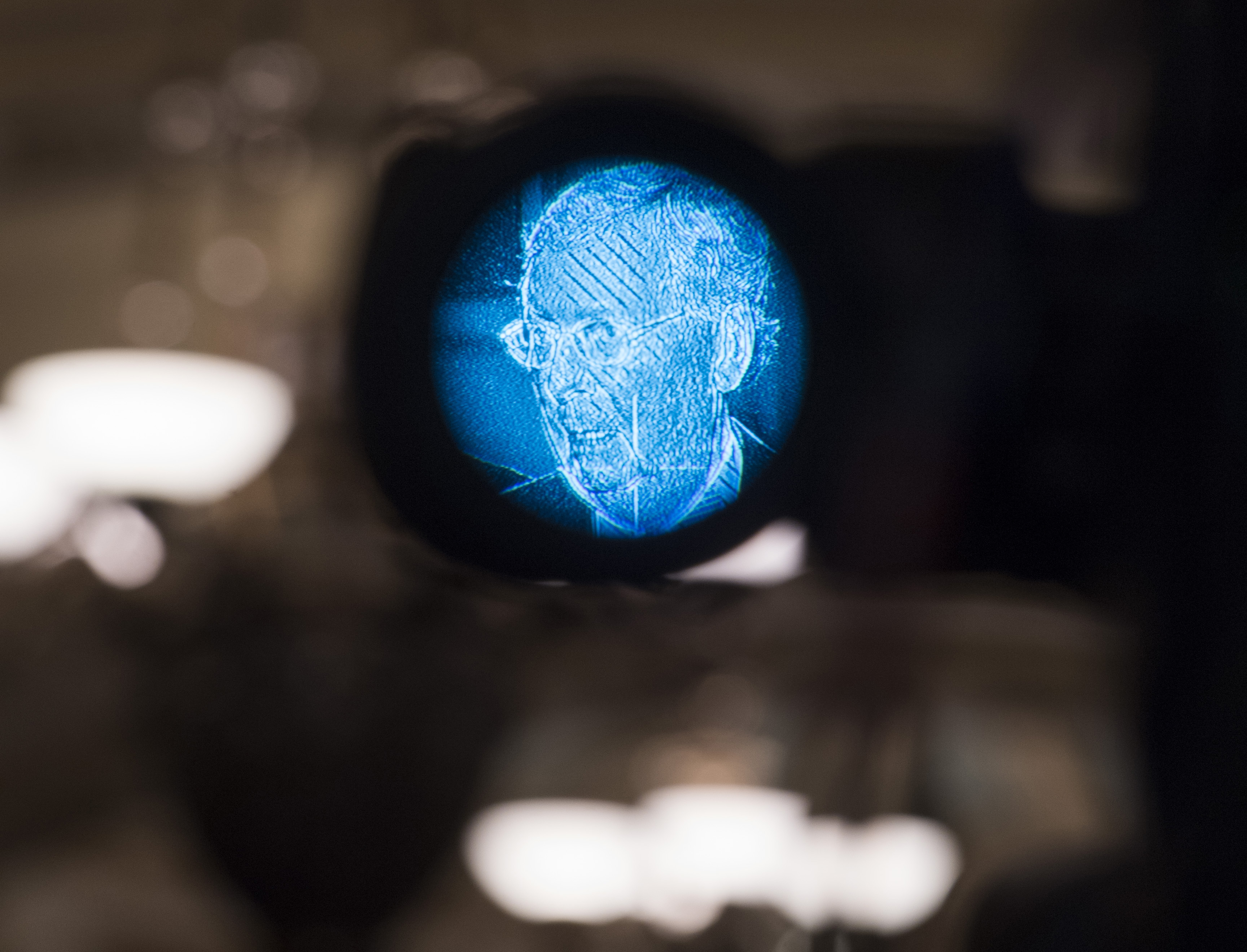 UNITED STATES - JUNE 4: Senate Majority Leader Mitch McConnell, R-Ky., is seen through a television camera during a news conference after the Senate Policy luncheons in the Capitol on Tuesday, June 4, 2019. (Photo By Tom Williams/CQ Roll Call)