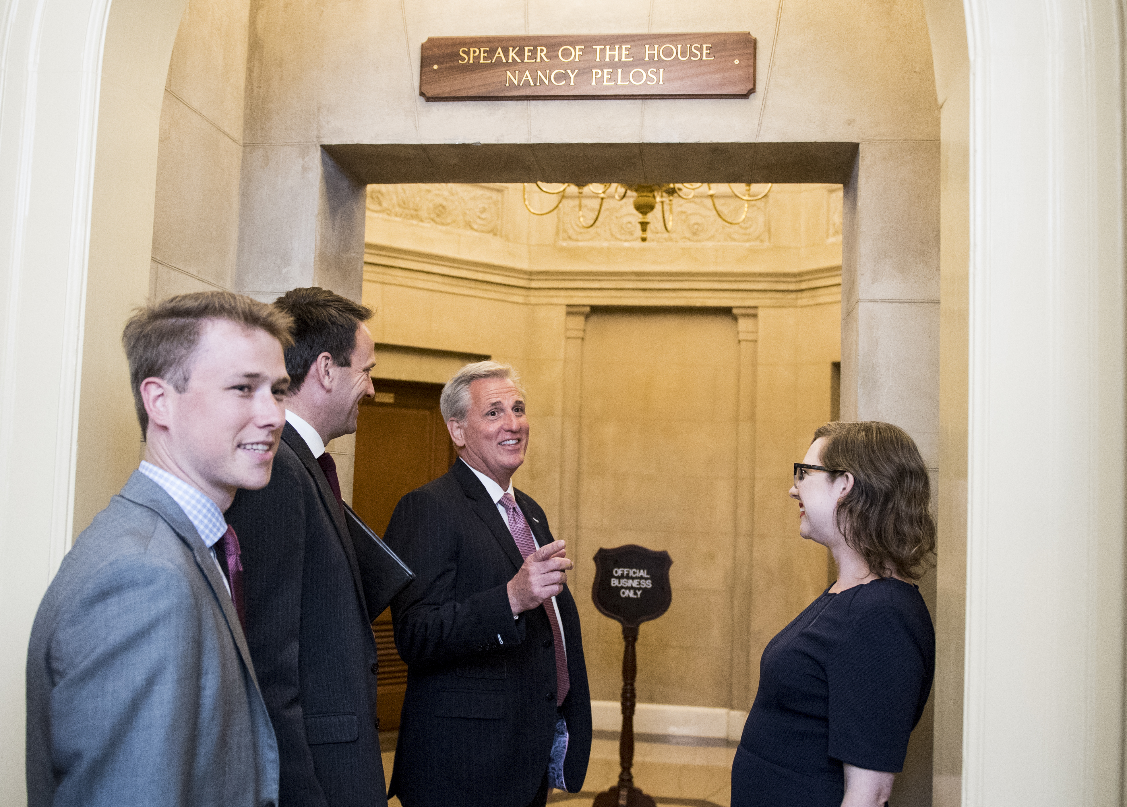 UNITED STATES - JUNE 20: House Minority Leader Kevin McCarthy, R-Calif., arrives in Speaker Pelosi's office for the meeting with Prime Minister of Canada Justin Trudeau on Thursday, June 20, 2019. (Photo By Bill Clark/CQ Roll Call)