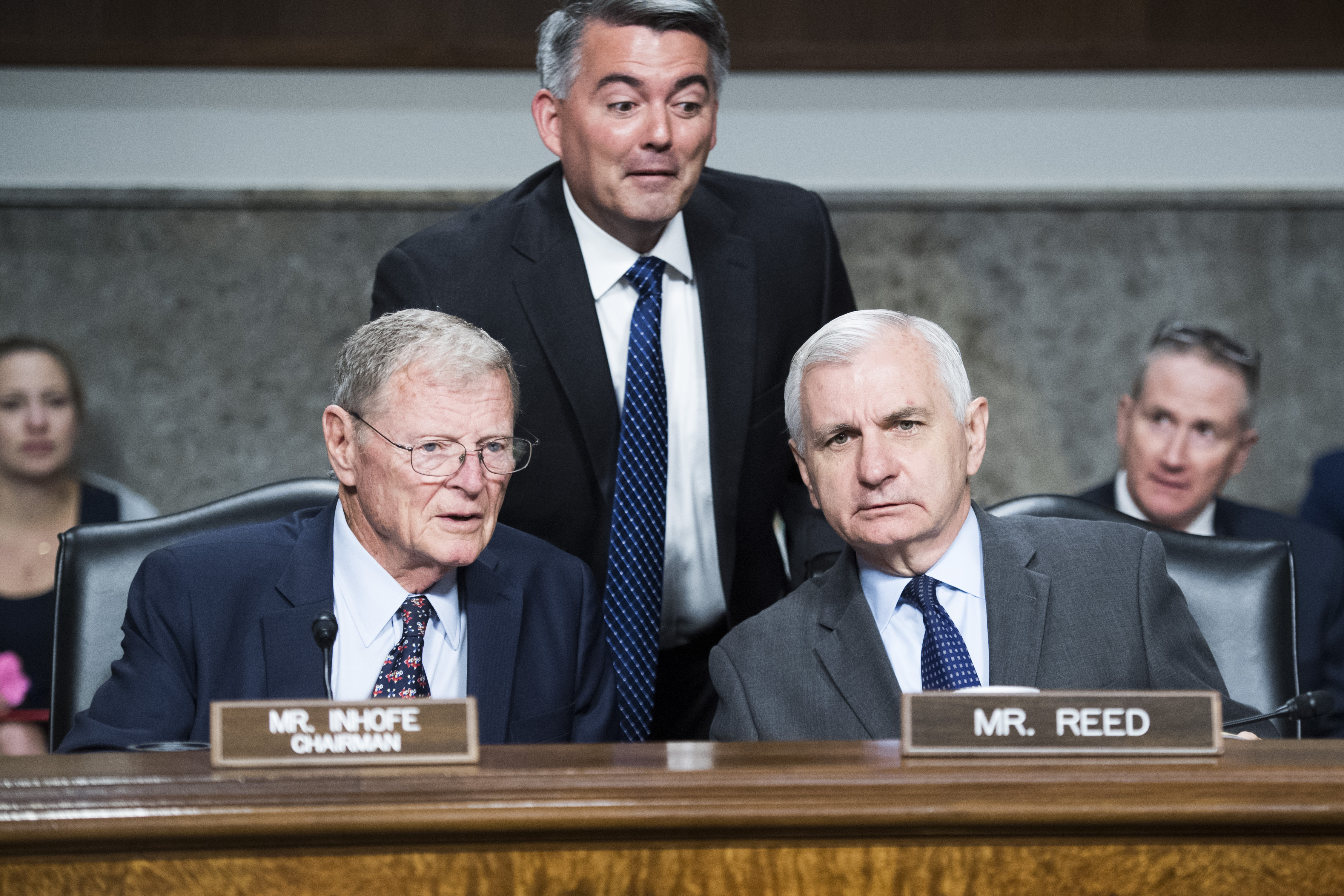 UNITED STATES - JUNE 4: Chairman James Inhofe, R-Okla., ranking member Sen. Jack Reed, D-R.I., and Sen. Cory Gardner, R-Colo., are seen during a Senate Armed Services Committee hearing on nominations in Dirksen Building on Tuesday, June 4, 2019. Dr. Christopher J. Scolese, is nominated to be director of the National Reconnaissance Office, and USAF Gen. John W. Raymond, to be commander of the U.S. Space Command and the Air Force Space Command. (Photo By Tom Williams/CQ Roll Call)