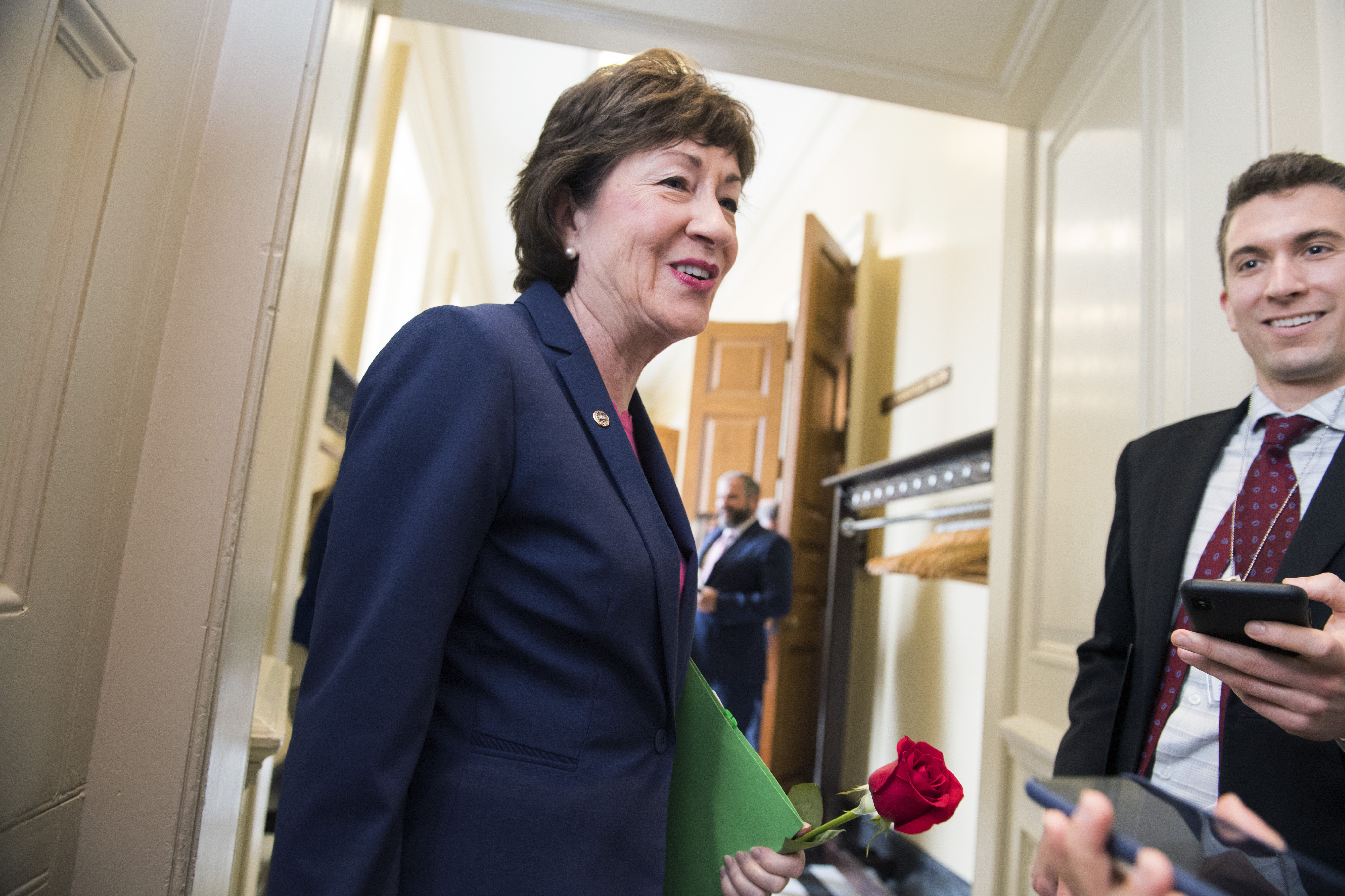 UNITED STATES - JUNE 18: Sen. Susan Collins, R-Maine, talks with a reporter before the Senate Policy luncheons in the Capitol on Tuesday, June 18, 2019. (Photo By Tom Williams/CQ Roll Call)