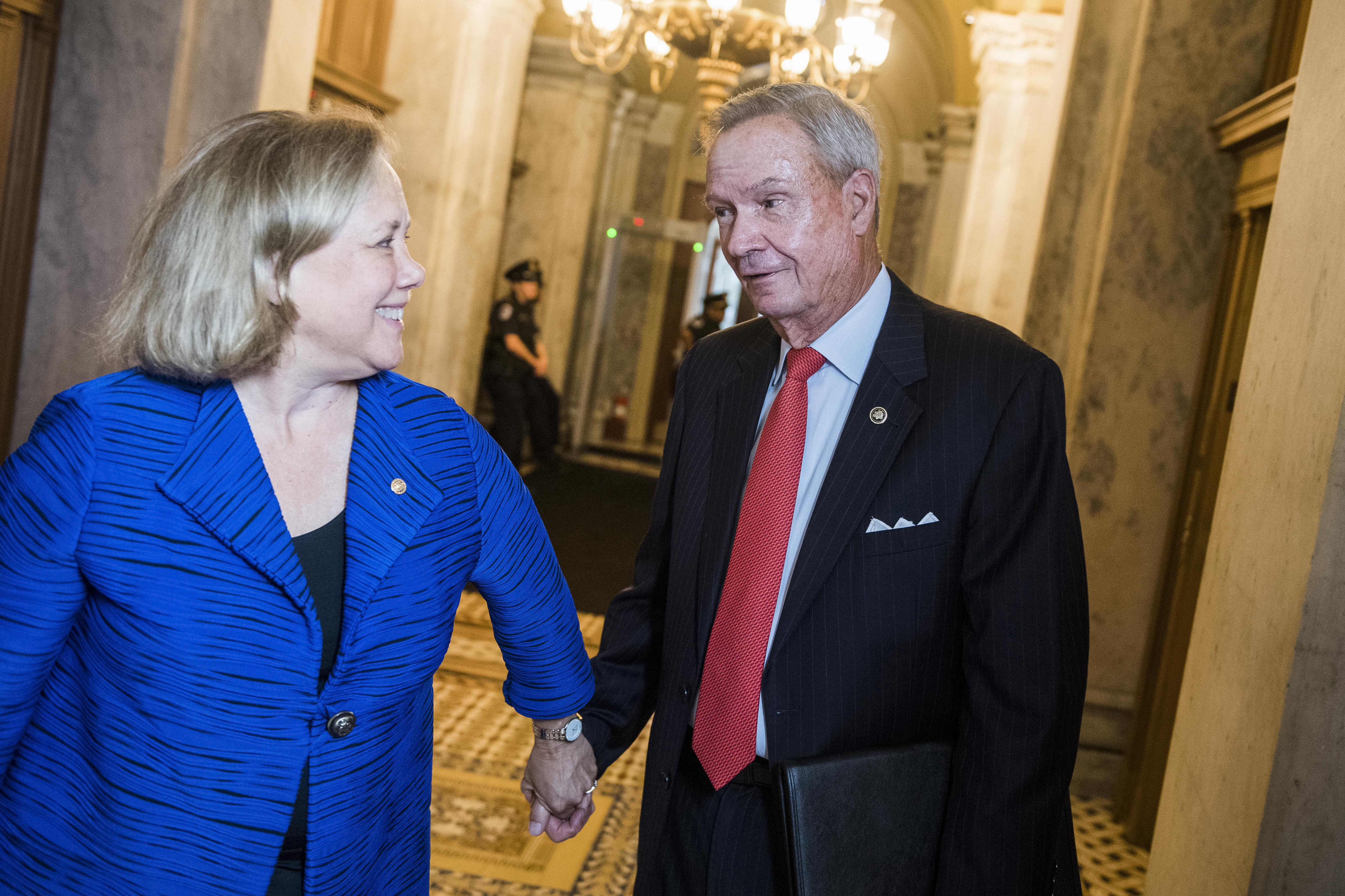 UNITED STATES - JUNE 11: Former Sens. John Breaux, D-La., and Mary Landrieu, D-La., are seen in the Capitol on Tuesday, June 11, 2019. (Photo By Tom Williams/CQ Roll Call)