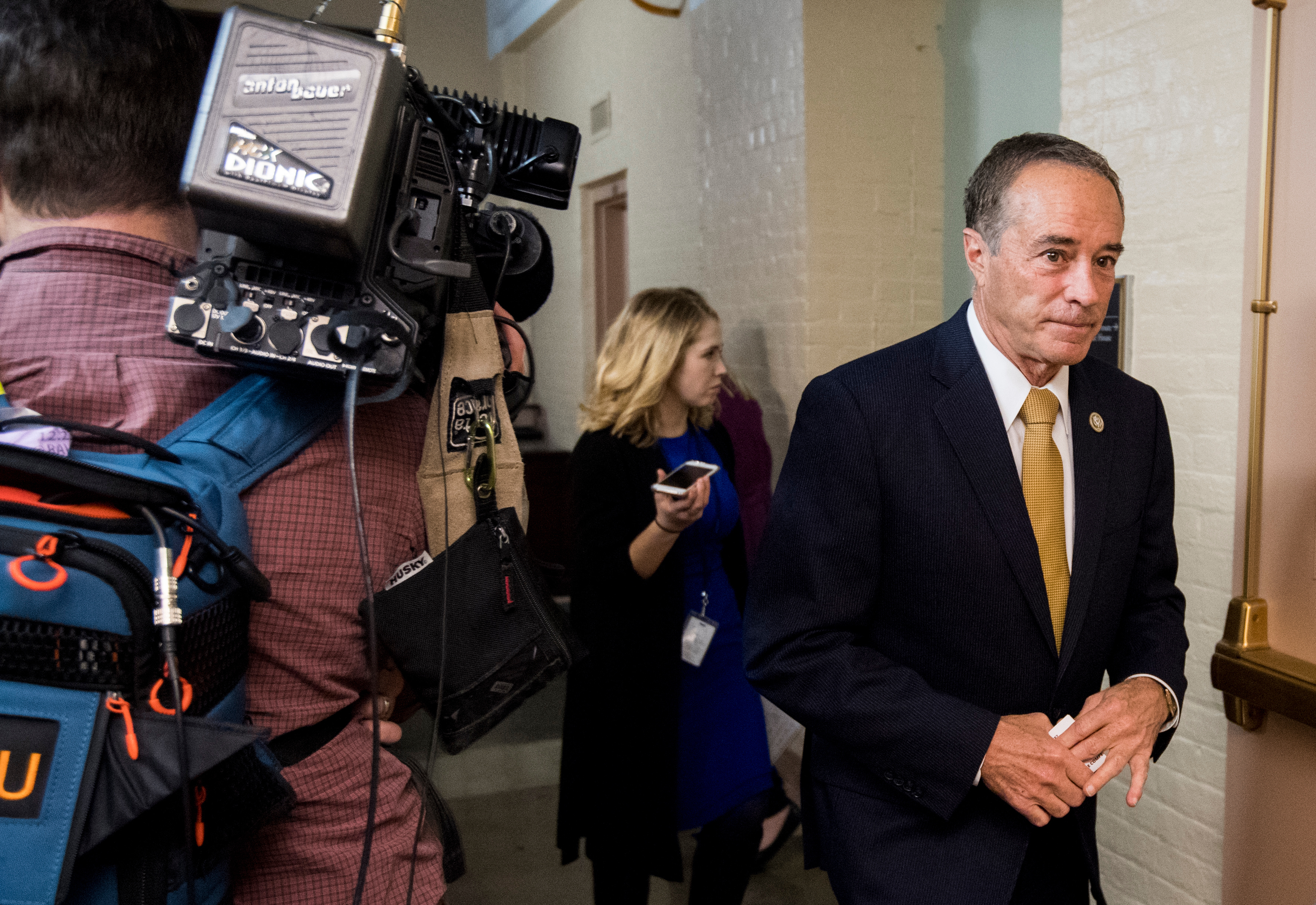 UNITED STATES - JANUARY 9: Rep. Chris Collins, R-N.Y., leaves the House Republican Conference meeting in the Capitol on Tuesday, Jan. 9, 2018. (Photo By Bill Clark/CQ Roll Call)