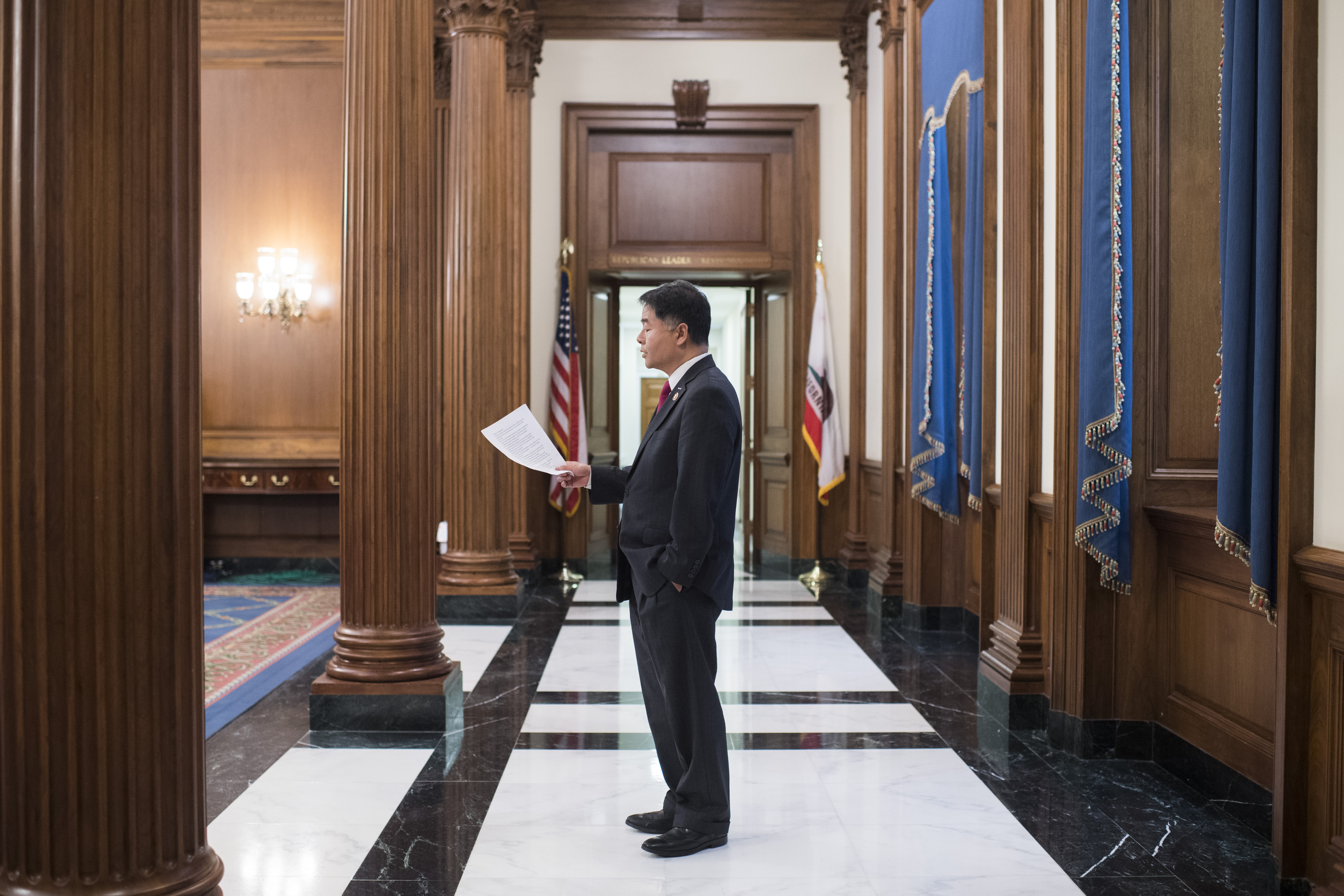 UNITED STATES - JULY 25: Rep. Ted Lieu, D-Calif., practices his remarks in the Capitol before a rally with House Democrats on their first 200 days of the 116th Congress on Thursday, July 25, 2019. (Photo By Tom Williams/CQ Roll Call)