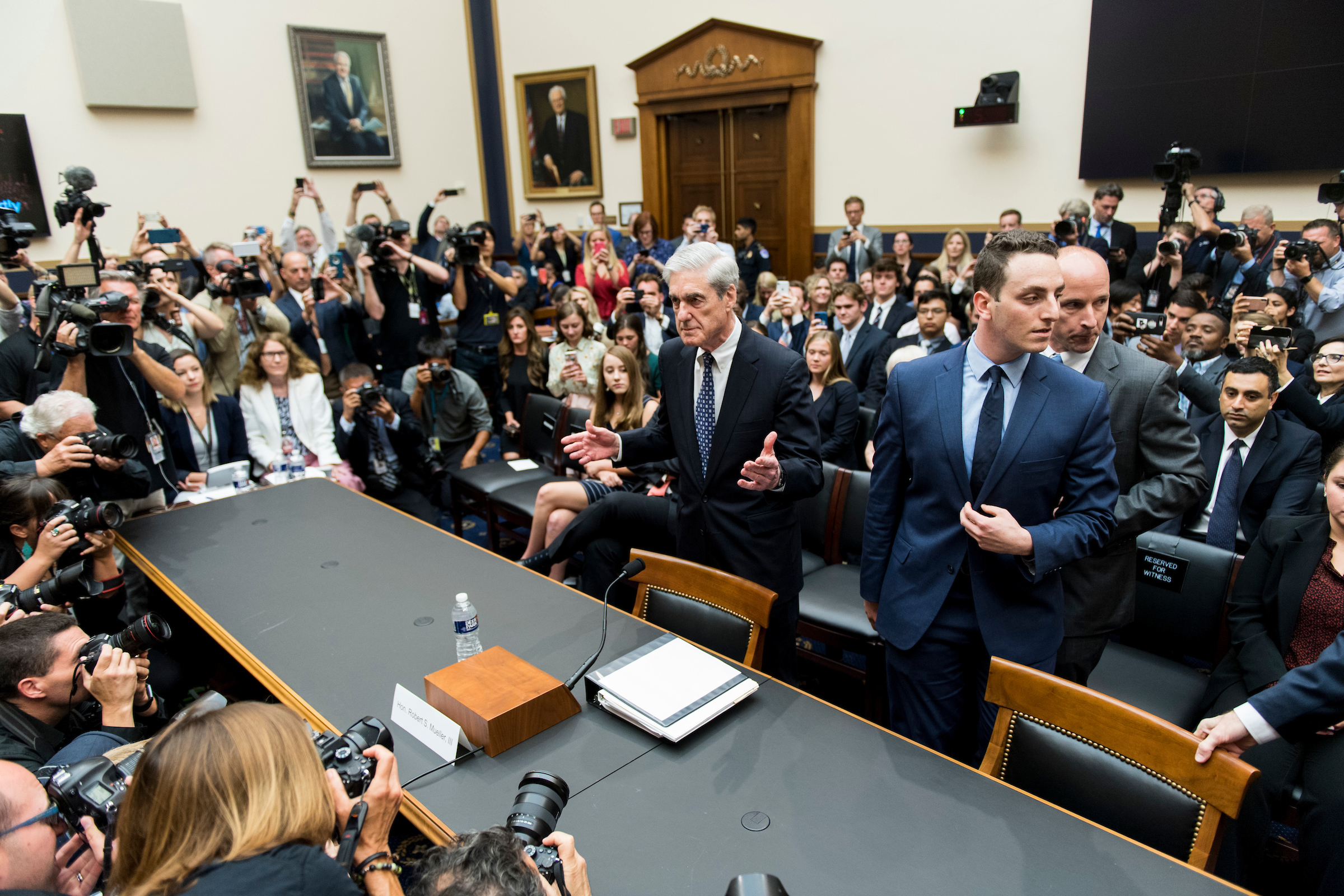 "Former Special Counsel Robert Mueller arrives to testify during the House Judiciary Committee hearing on ""Oversight of the Report on the Investigation into Russian Interference in the 2016 Presidential Election"" on Wednesday, July 24, 2019. (Photo By Bill Clark/CQ Roll Call)"